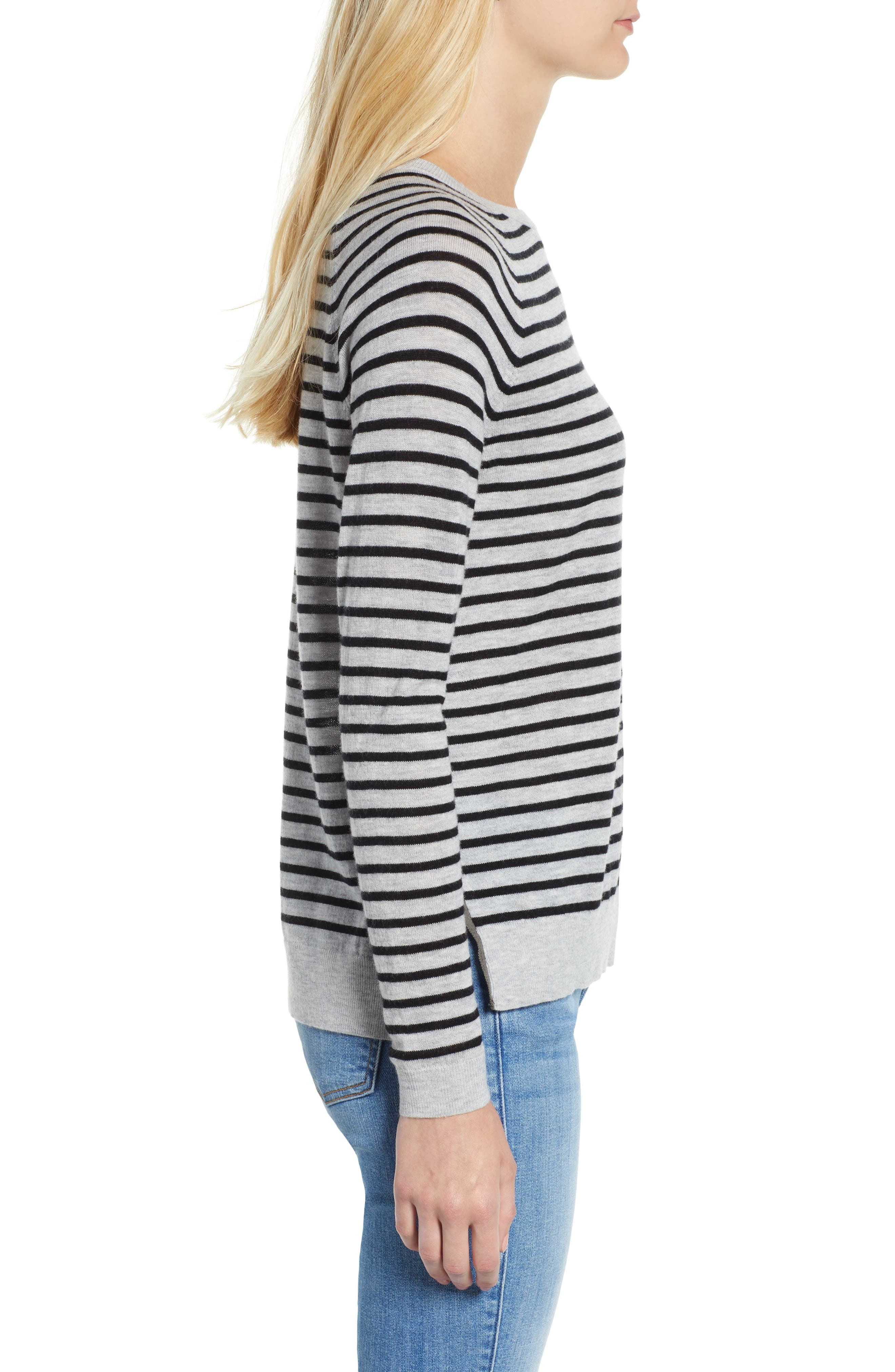 Stripe Zip Back Crewneck Sweater,                             Alternate thumbnail 3, color,                             059