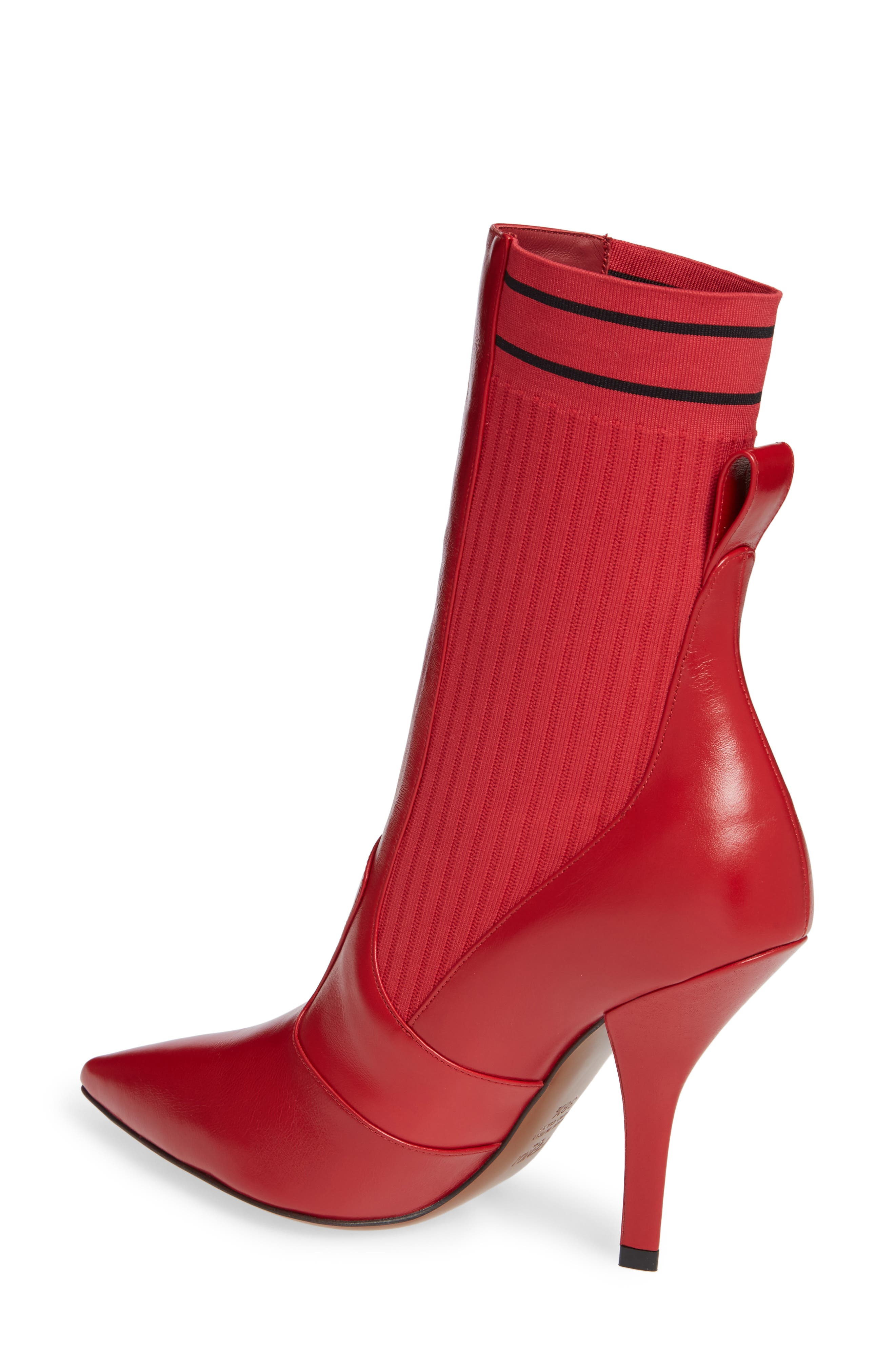 Rockoko Bootie,                             Alternate thumbnail 2, color,                             RED LEATHER
