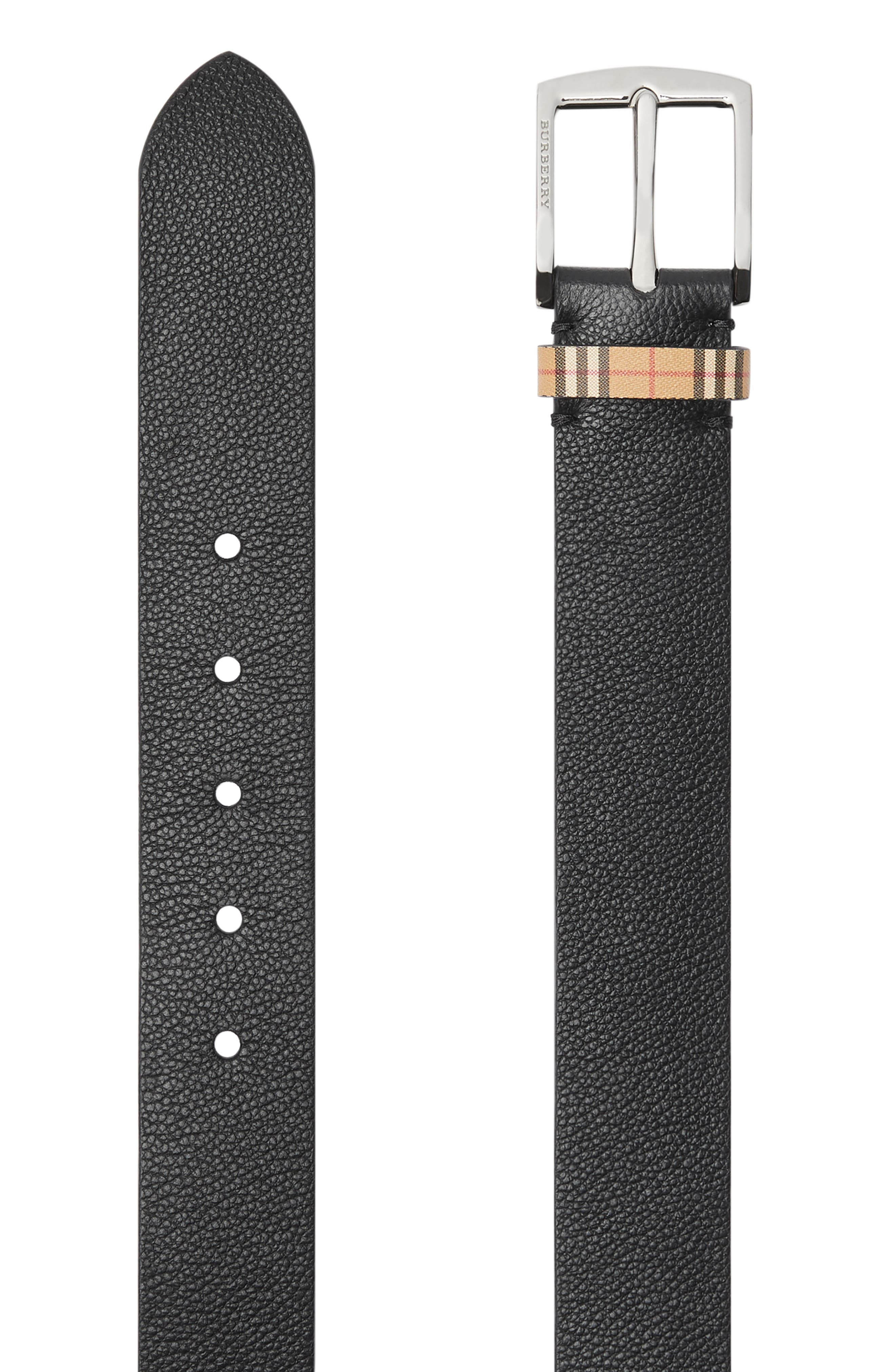 BURBERRY,                             Grainy Leather Belt,                             Alternate thumbnail 4, color,                             BLACK