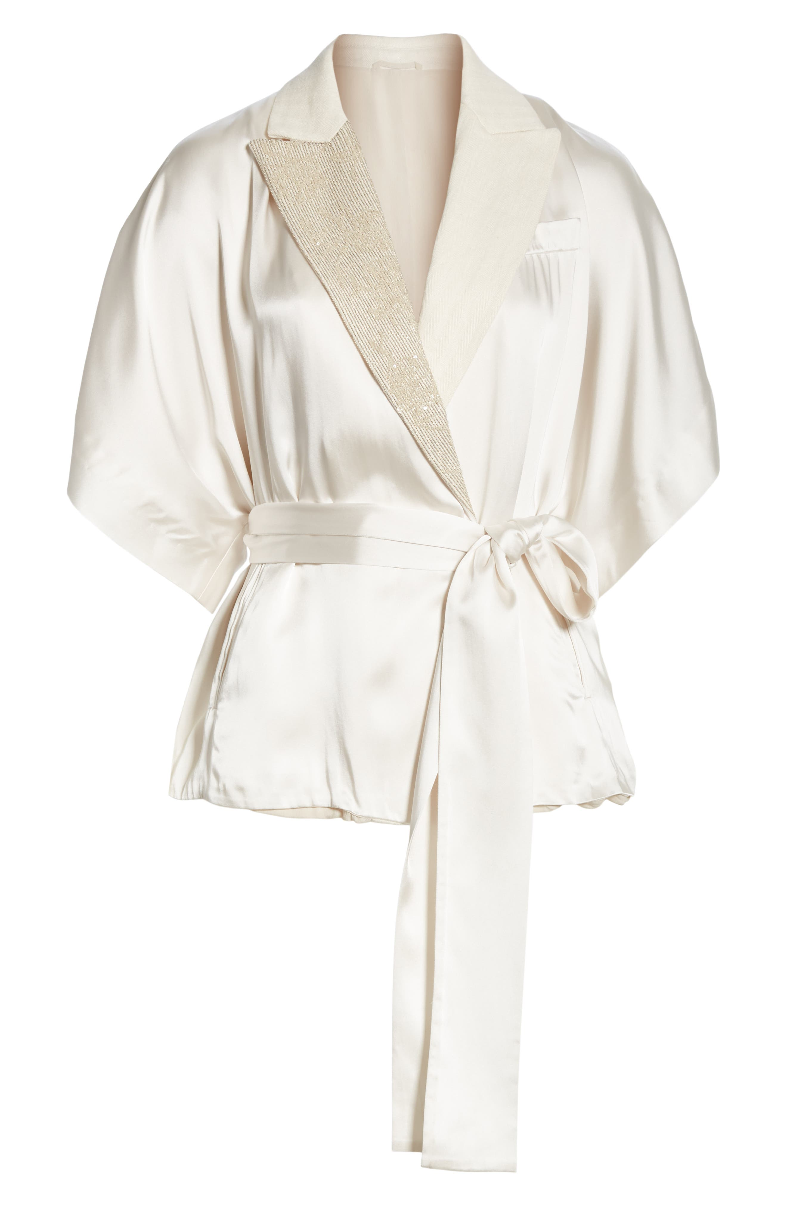 BRUNELLO CUCINELLI,                             Embellished Lapel Satin Kimono Jacket,                             Alternate thumbnail 5, color,                             BONE
