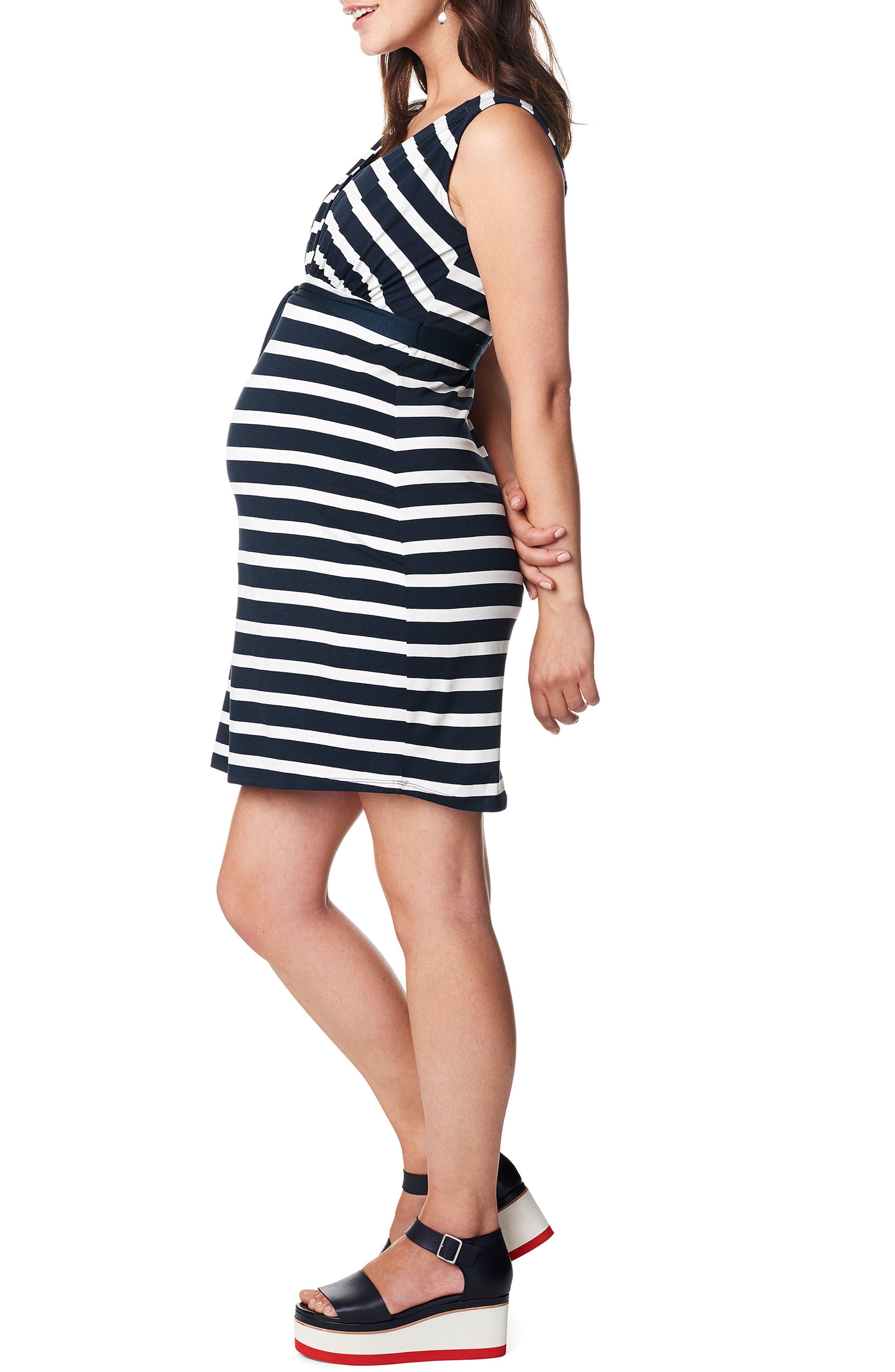 'Lara' Stripe Maternity Dress,                             Alternate thumbnail 4, color,                             DARK BLUE