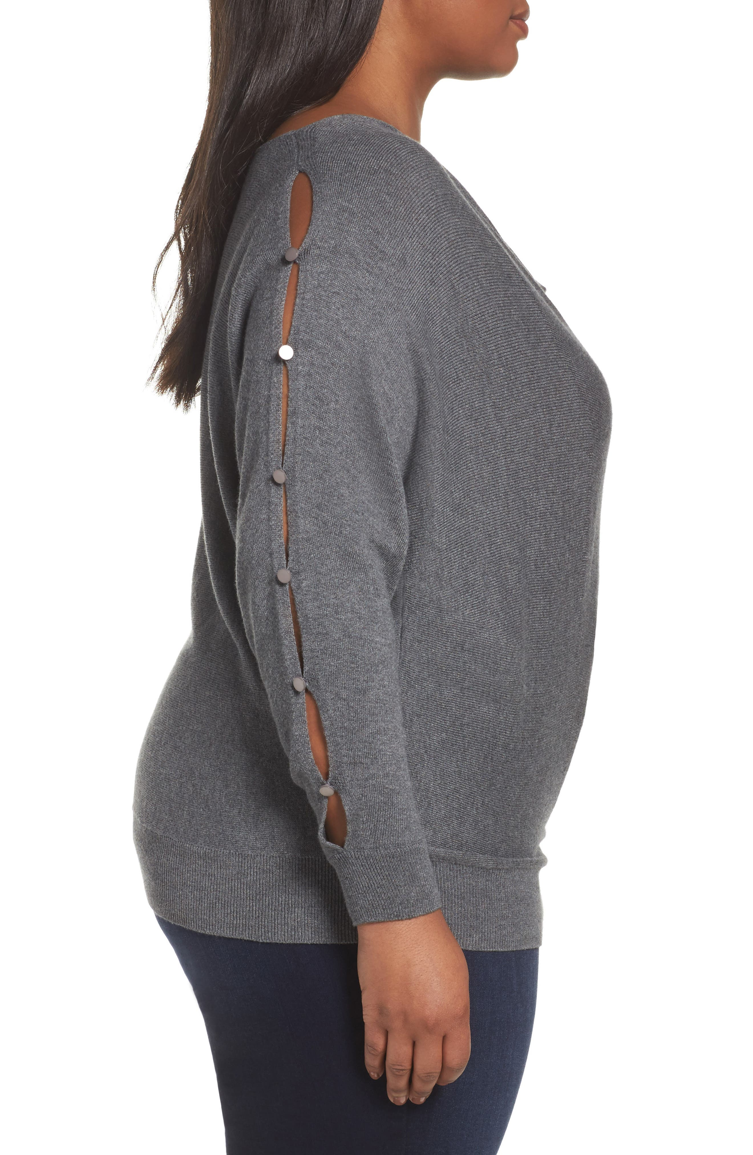 Button Sleeve Sweater,                             Alternate thumbnail 3, color,                             030