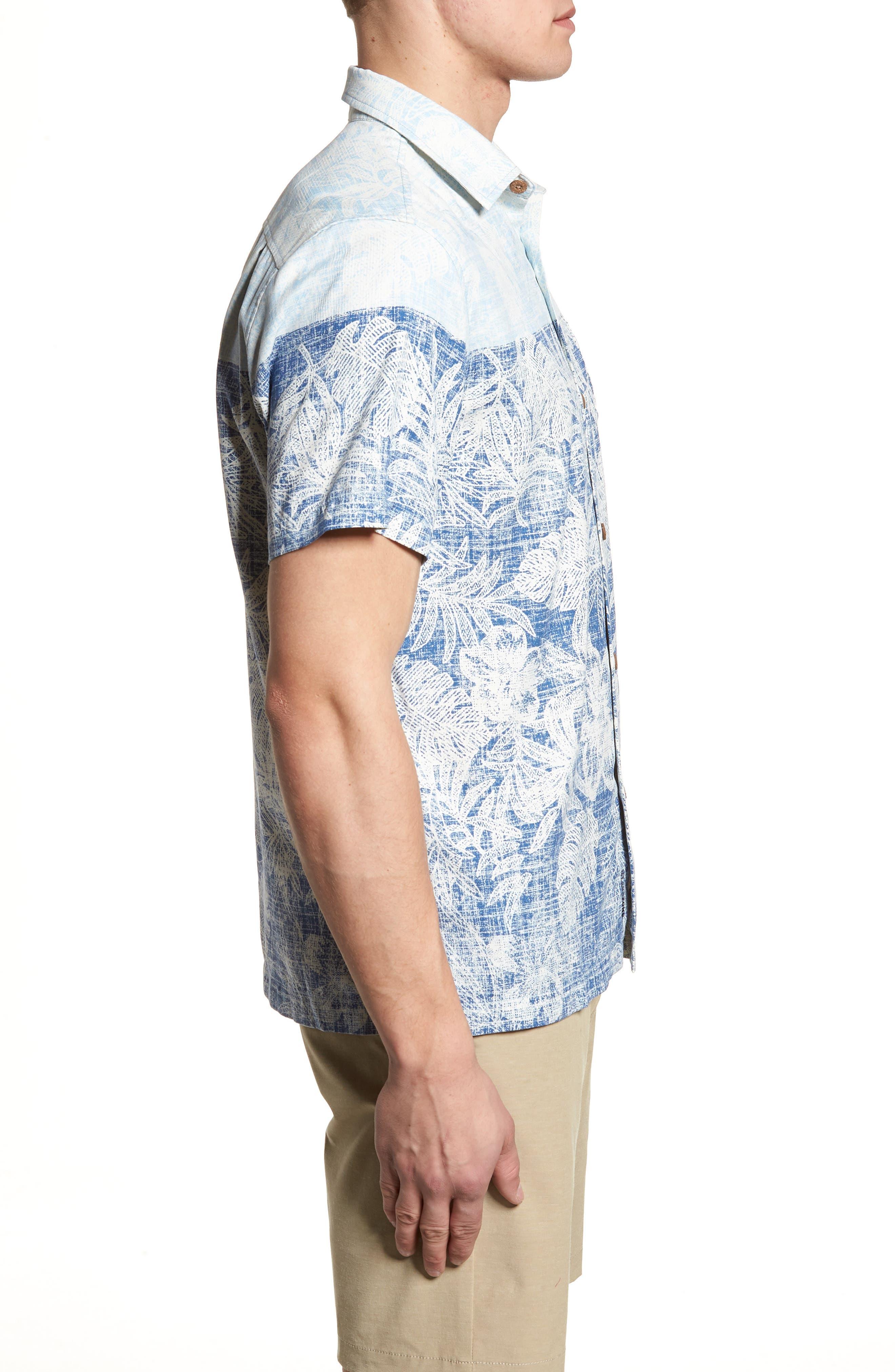 Regular Fit Rising Tides Silk Blend Sport Shirt,                             Alternate thumbnail 3, color,