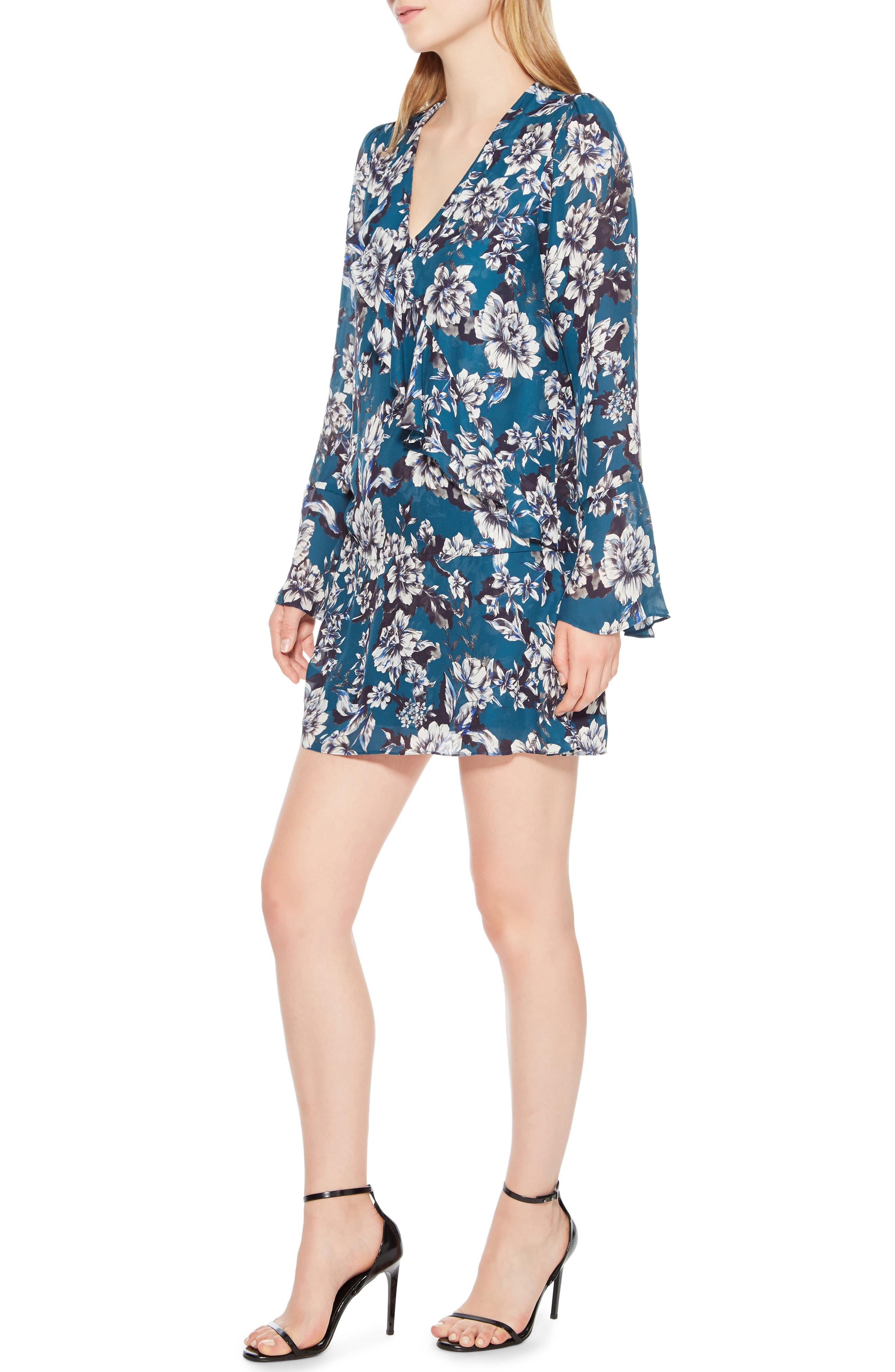 Skylar Floral Print Dress,                             Alternate thumbnail 3, color,                             EVERGLADE GARDENS