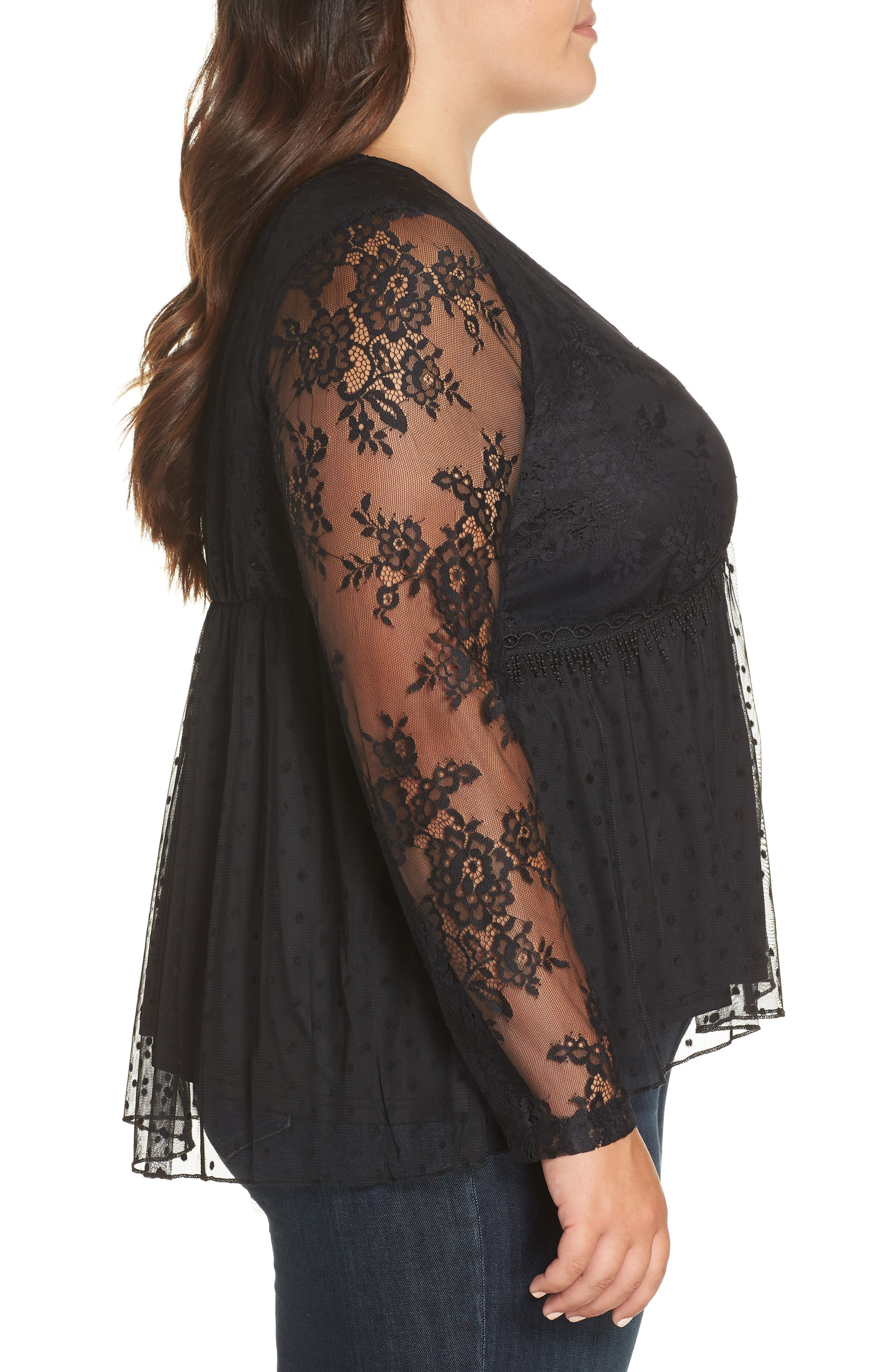 Lace Overlay Blouse,                             Alternate thumbnail 3, color,                             BLACK