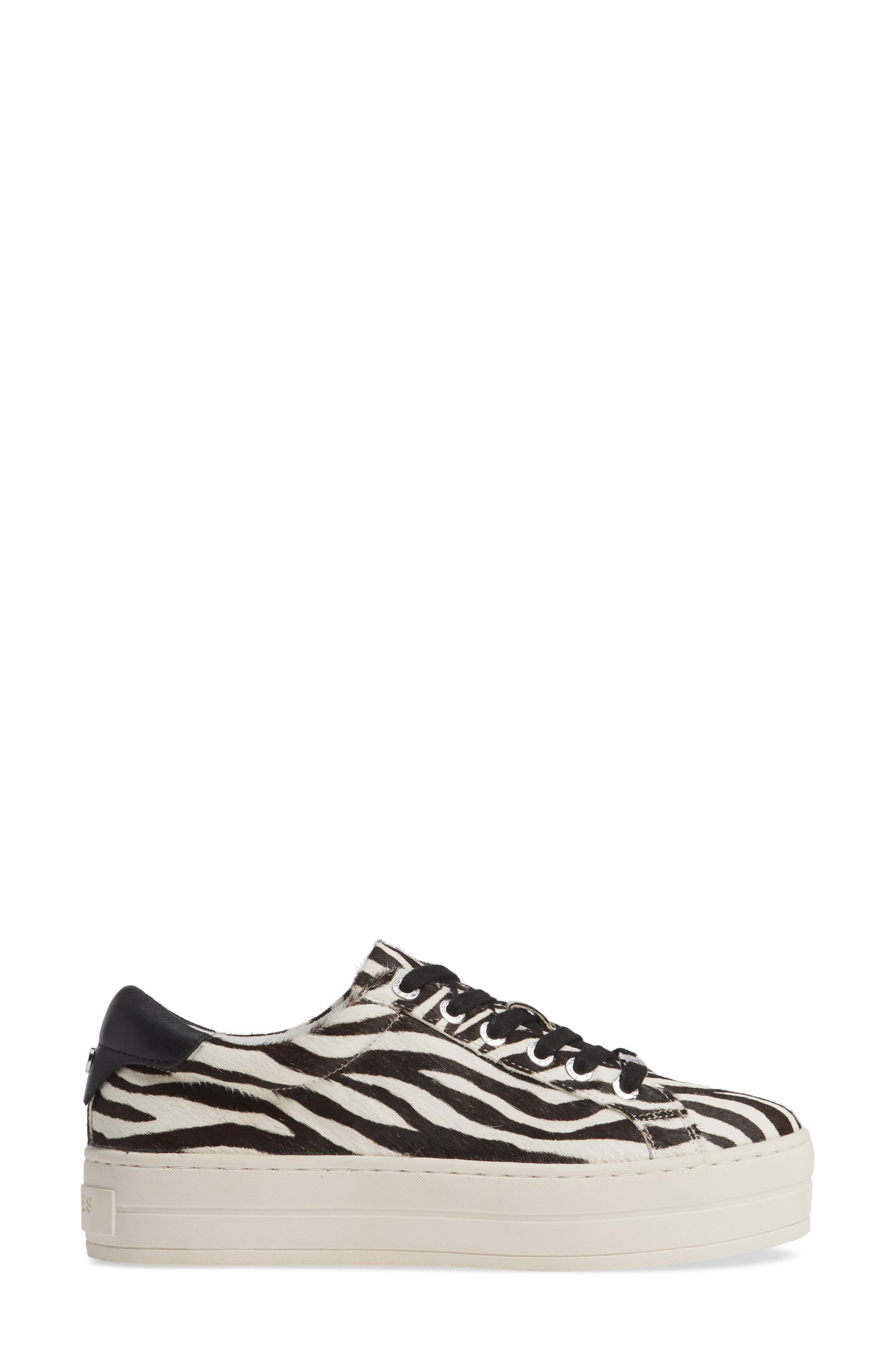 JSLIDES,                             Hippie Genuine Calf Hair Platform Sneaker,                             Alternate thumbnail 3, color,                             ZEBRA CALF HAIR