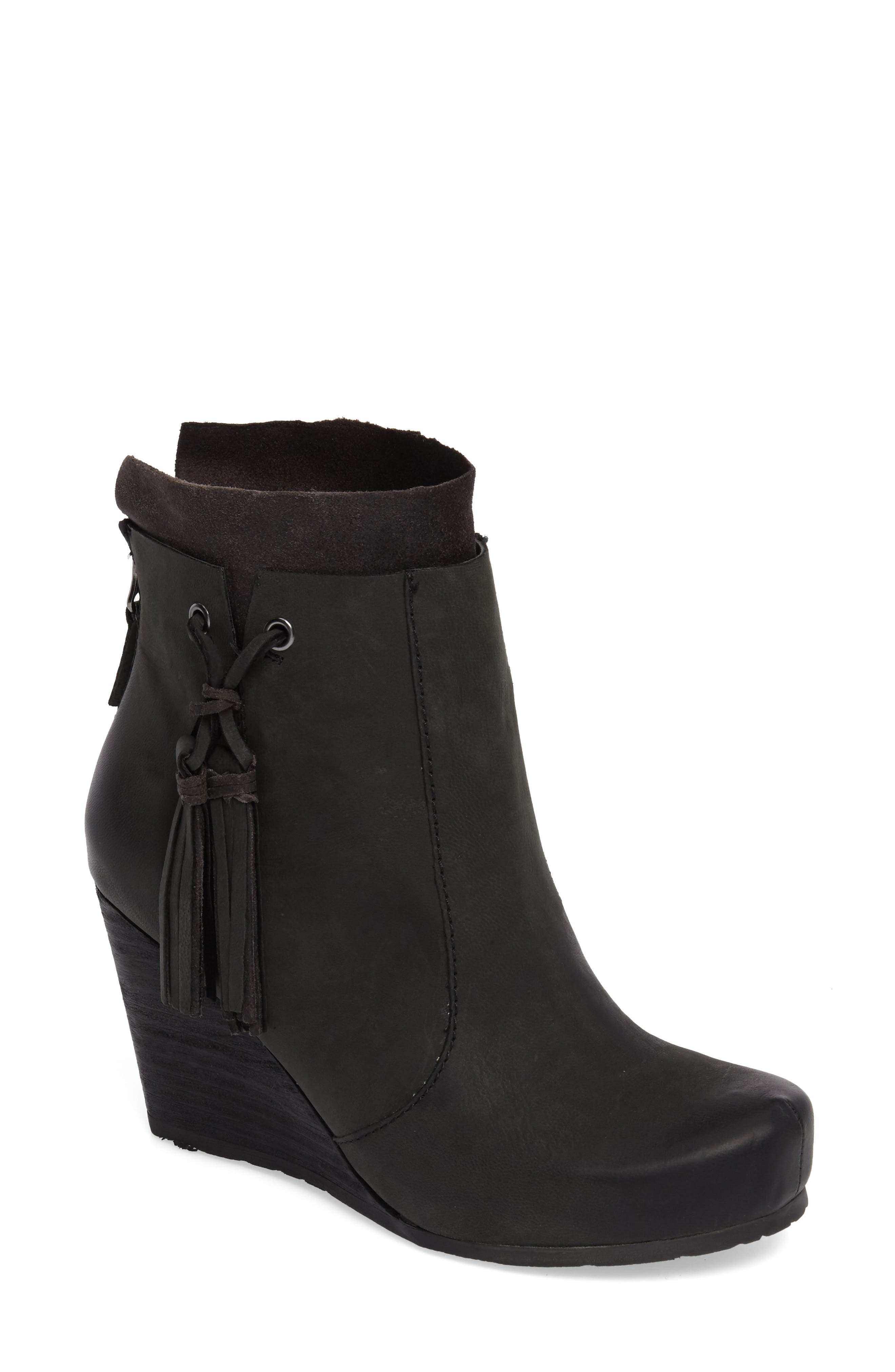 Vagary Wedge Bootie,                             Main thumbnail 1, color,                             BLACK LEATHER