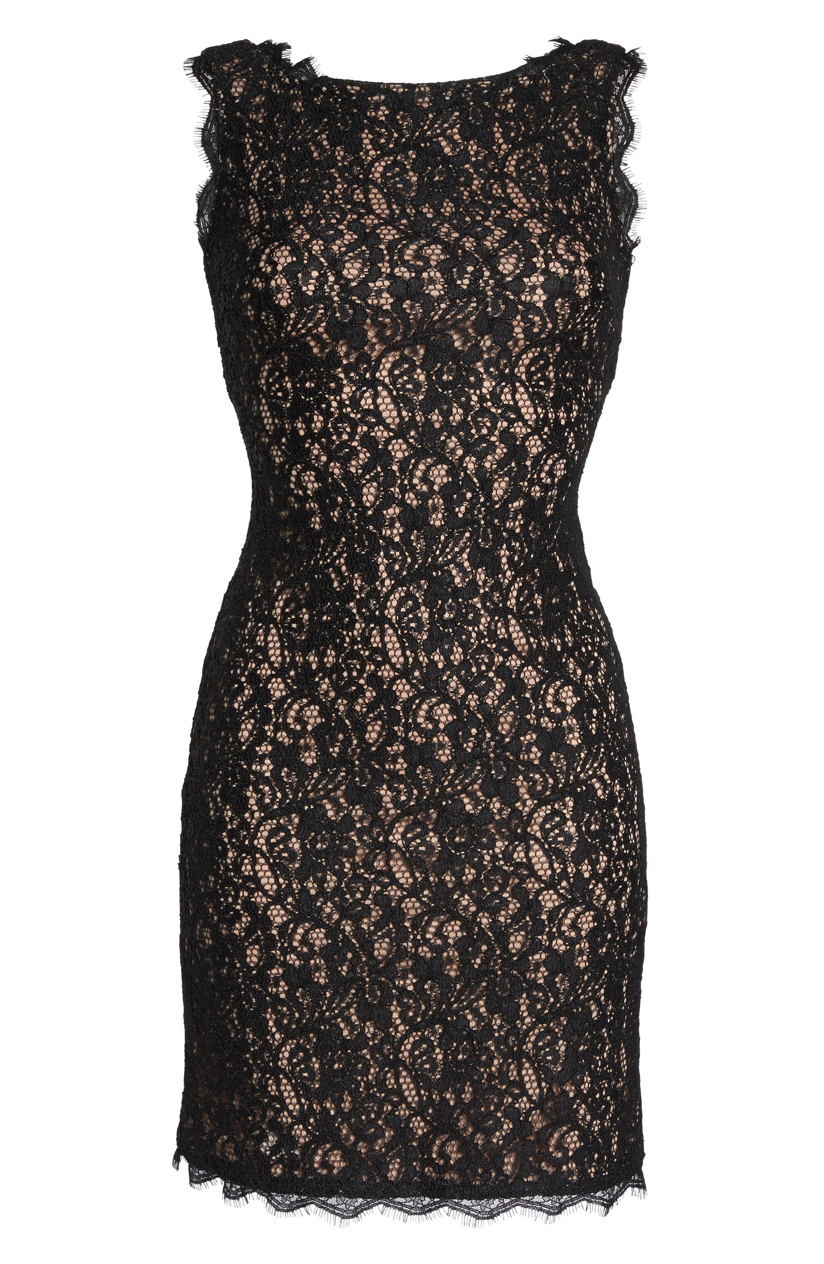 Boatneck Lace Sheath Dress,                             Alternate thumbnail 7, color,                             015