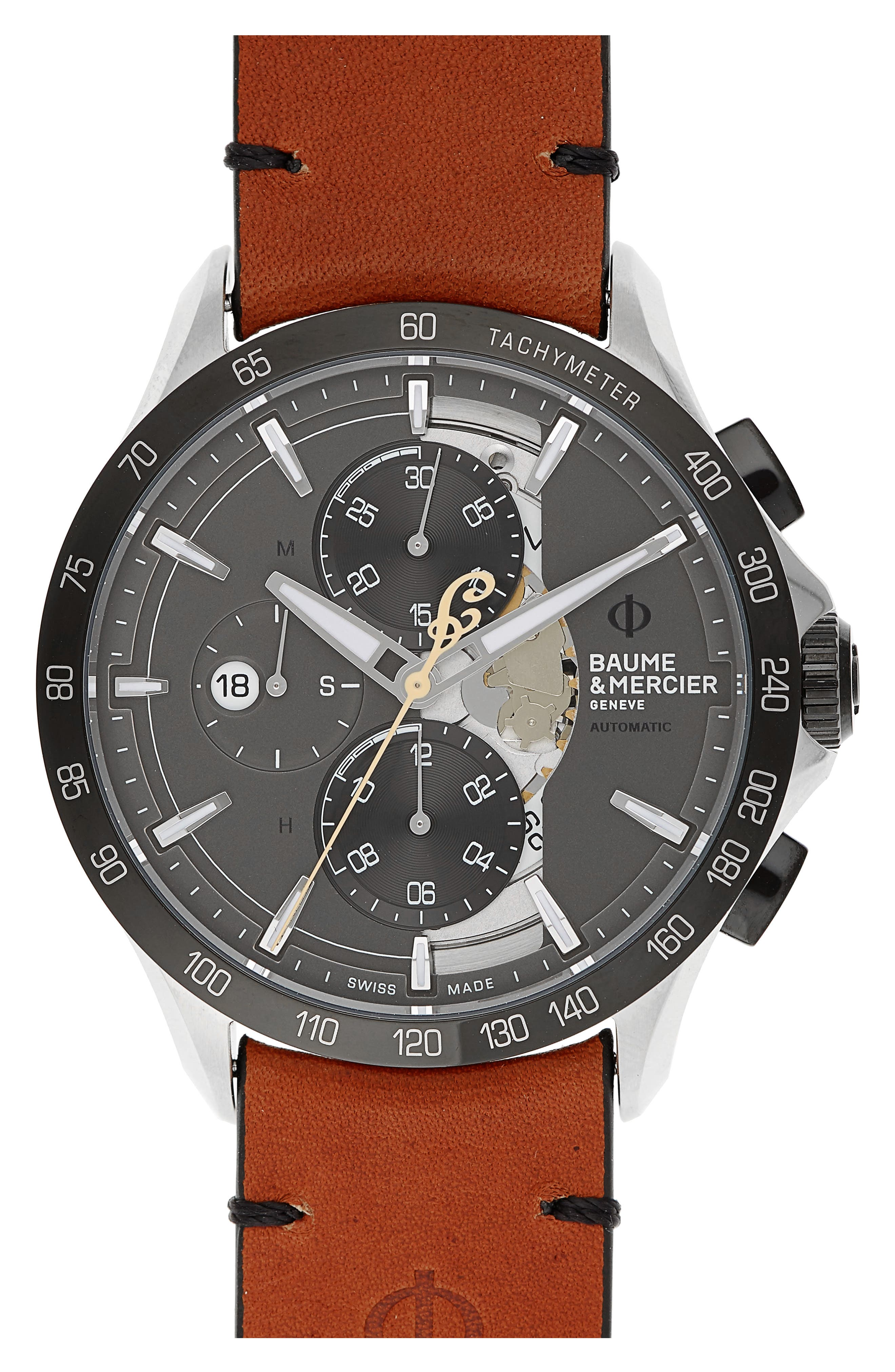 Clifton Limited Edition Leather Strap Watch, 44mm,                             Main thumbnail 1, color,                             GREY/BROWN