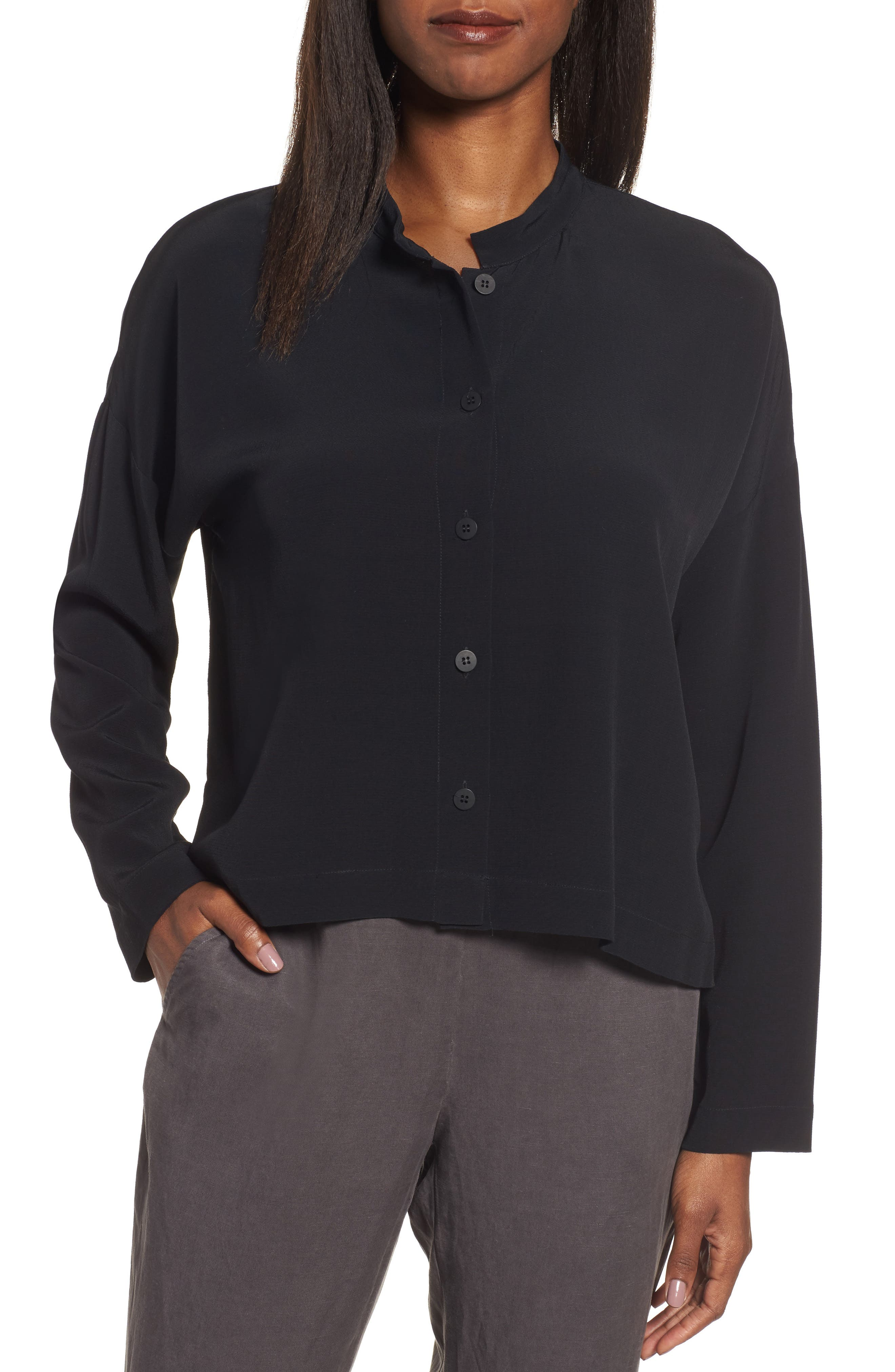 Mandarin Collar Boxy Top,                             Main thumbnail 1, color,                             001