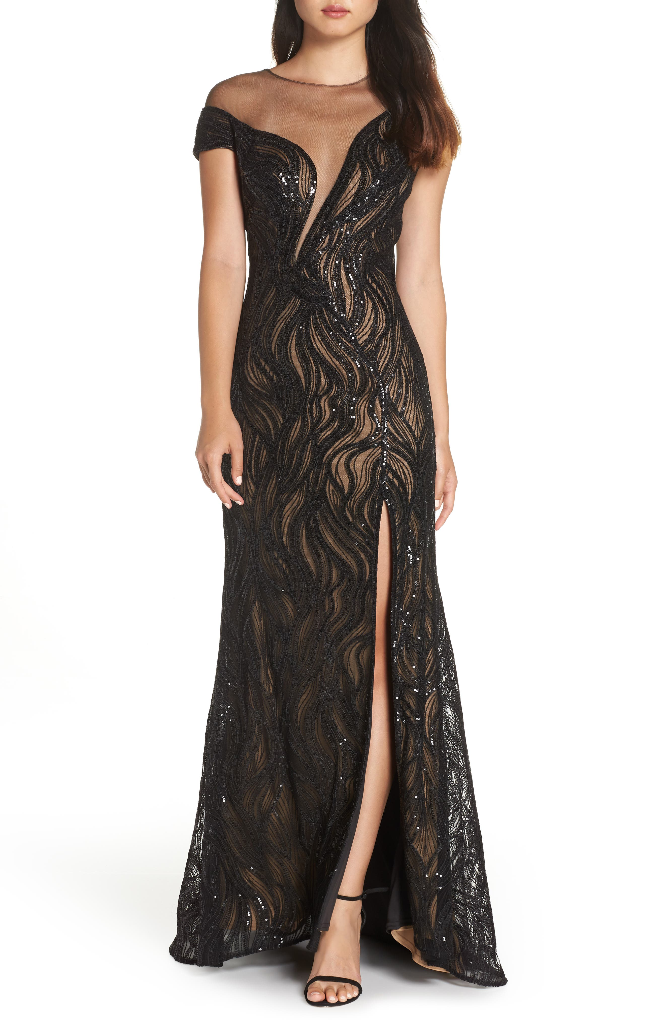 Tadashi Shoji Lucilia Illusion Sequin Gown, Black