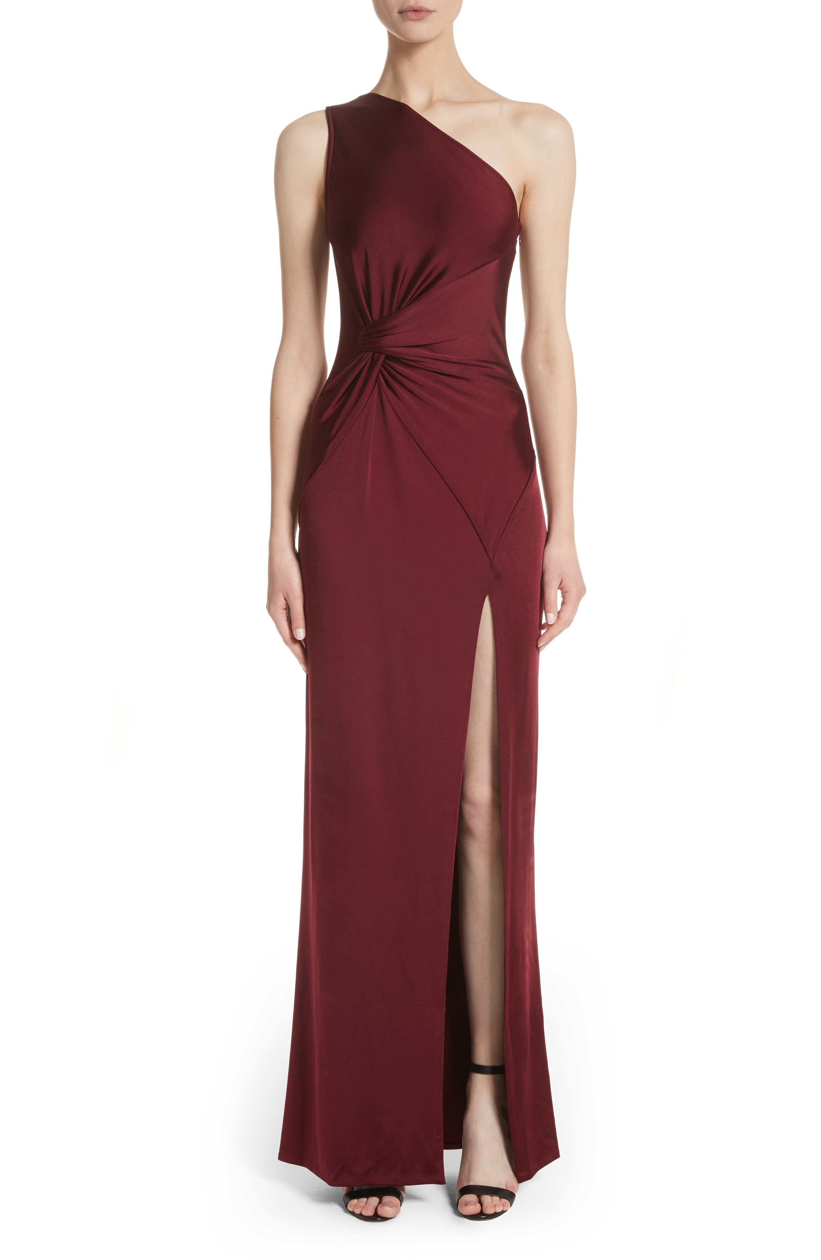 One-Shoulder Twist Gown,                             Main thumbnail 1, color,                             AUBURN