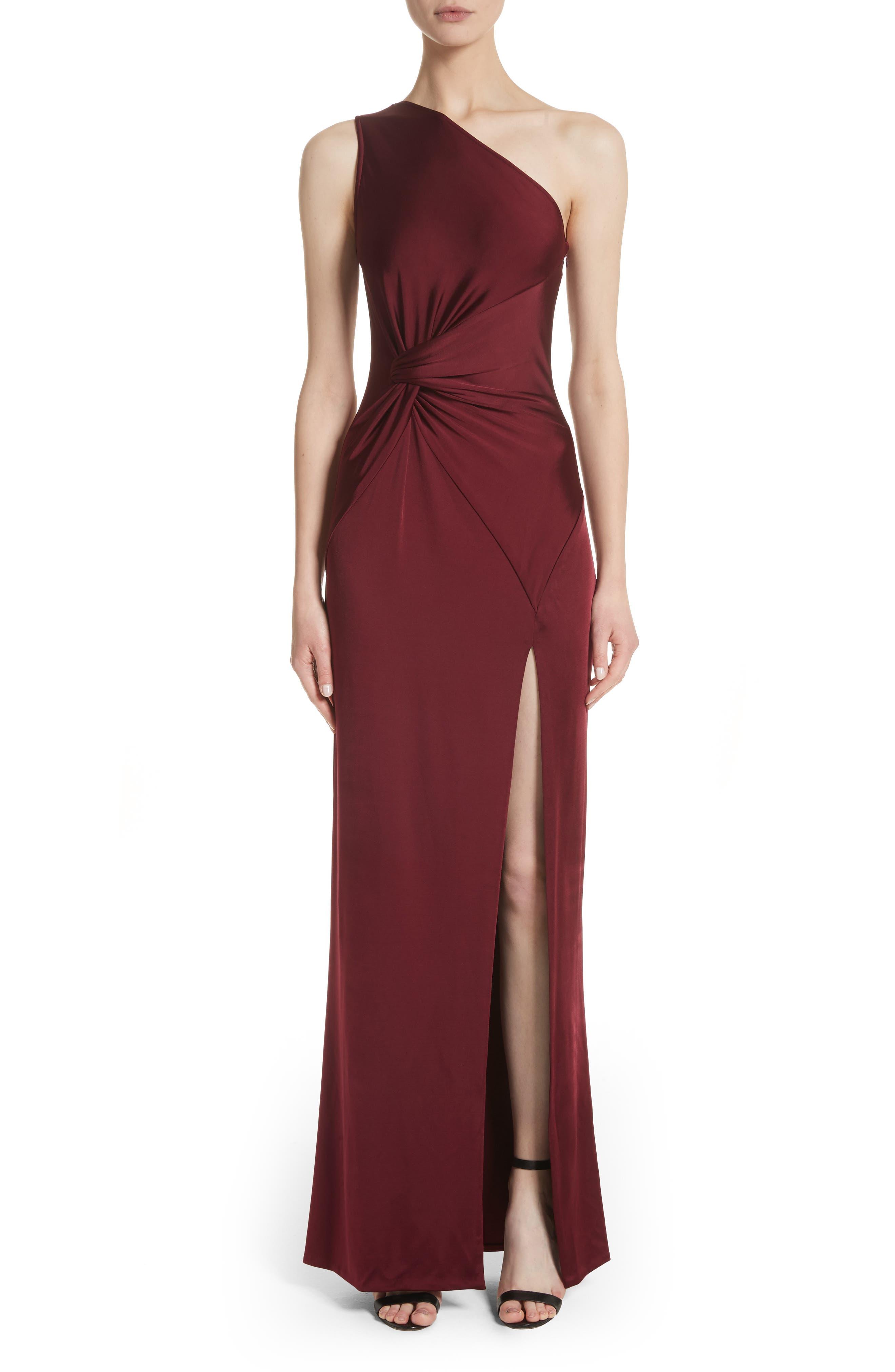 One-Shoulder Twist Gown,                         Main,                         color, AUBURN