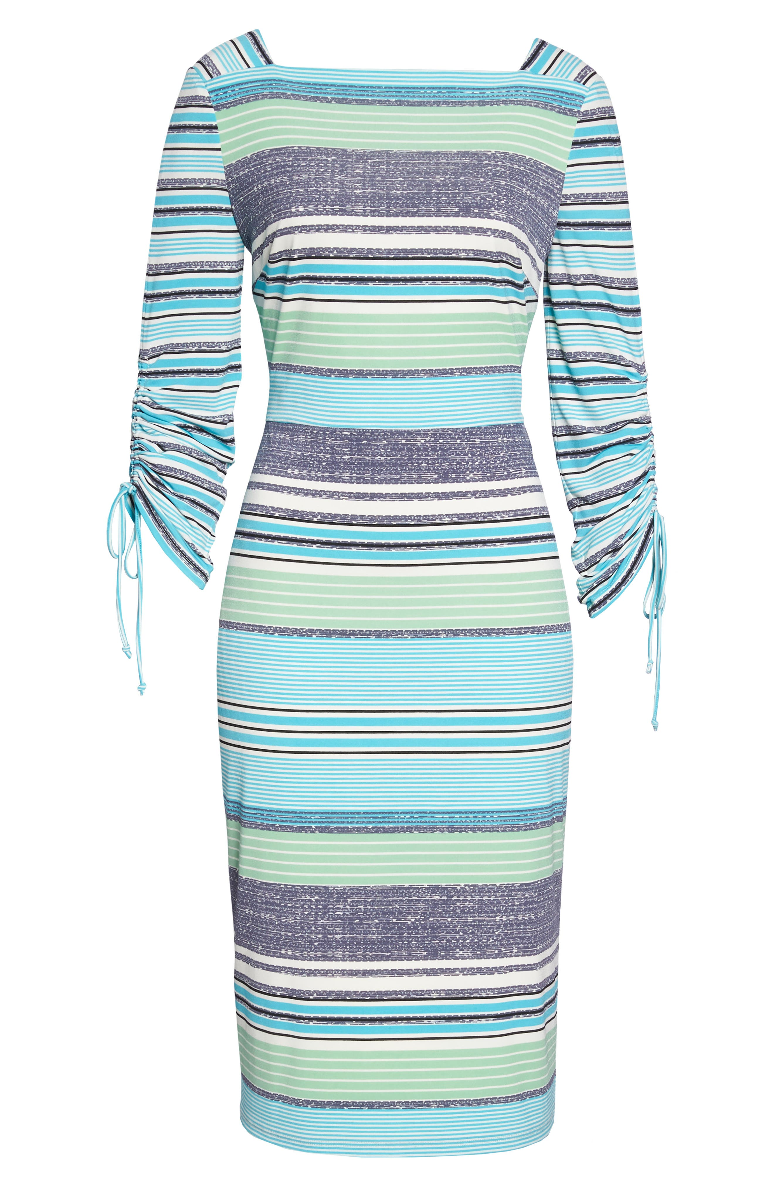 Ruched Sleeve Sheath Dress,                             Alternate thumbnail 7, color,                             WHITE/ AQUA