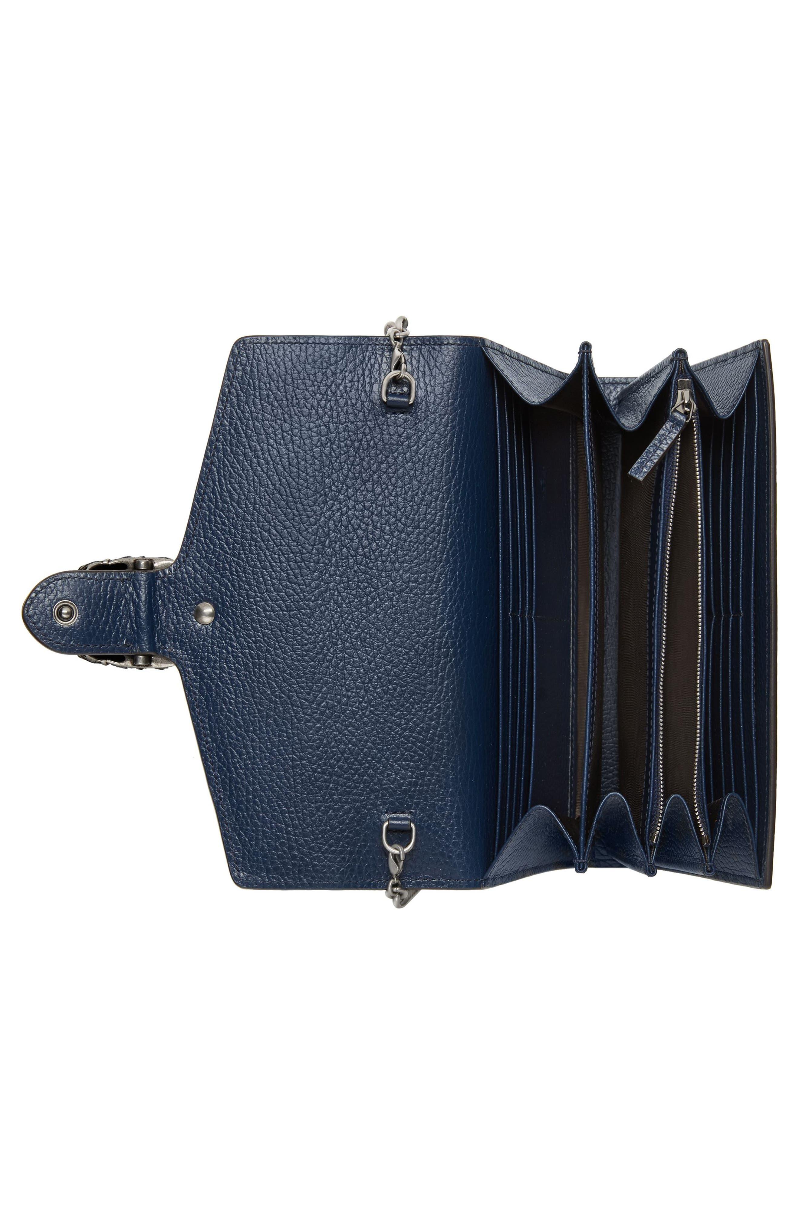 Dionysus Leather Wallet on a Chain,                             Alternate thumbnail 2, color,                             BLU AGATA/ BLACK DIAMOND