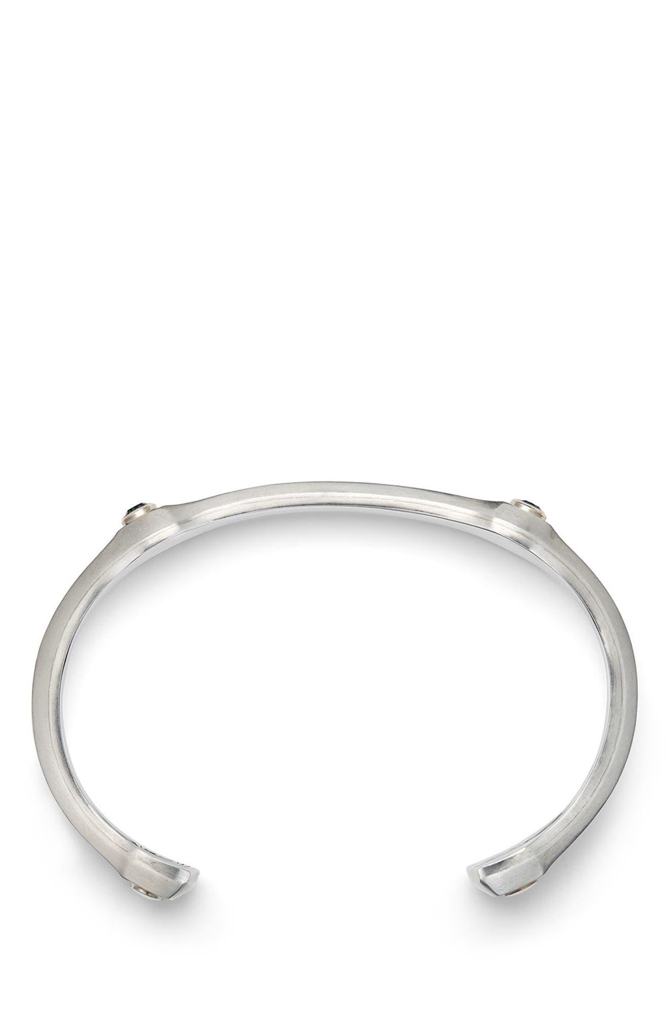 Anvil Cuff Bracelet with Black Diamond, 10.5mm,                             Alternate thumbnail 3, color,                             SILVER/ BLACK DIAMOND