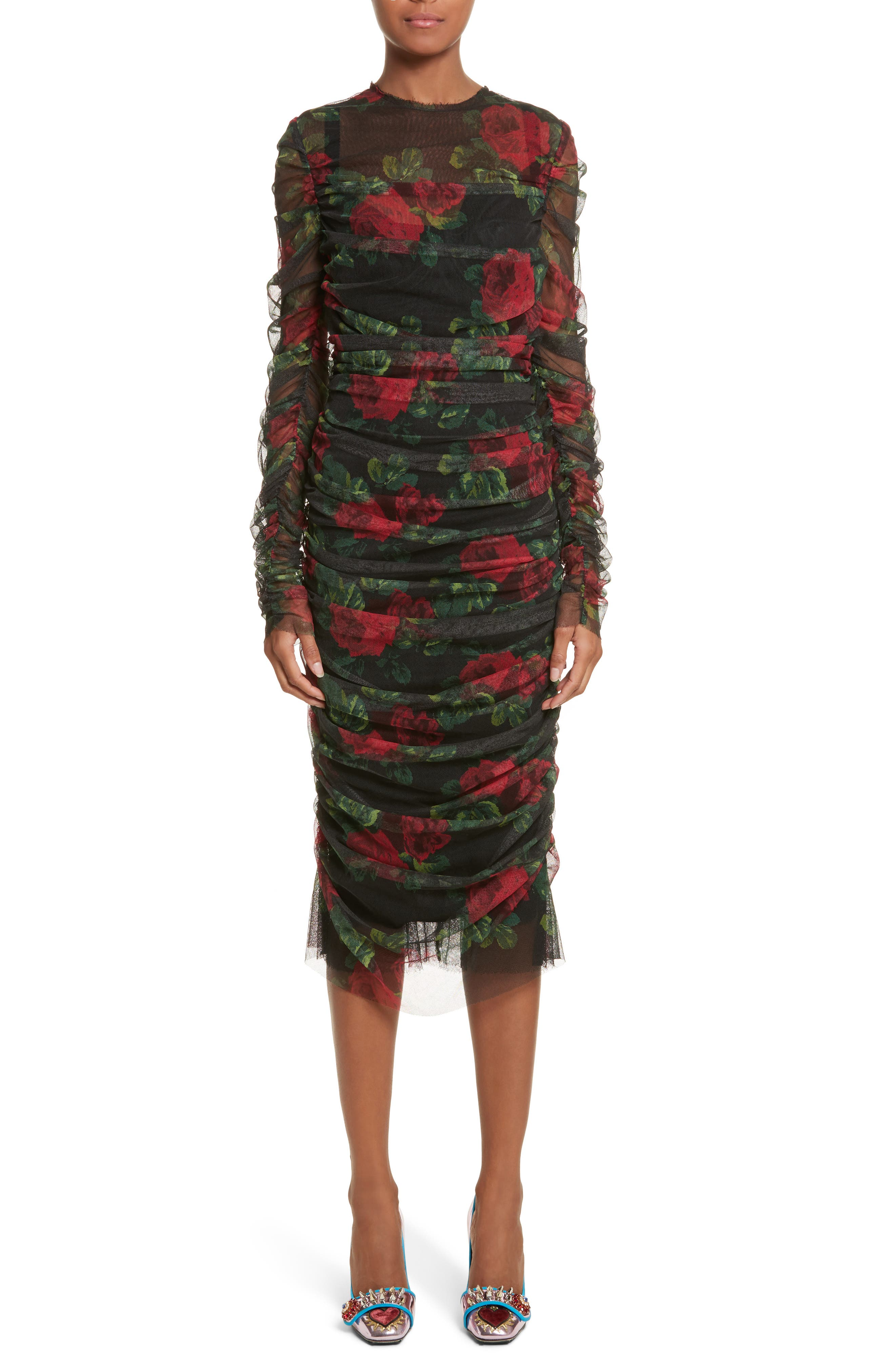 Rose Print Ruched Tulle Dress,                             Main thumbnail 1, color,                             001