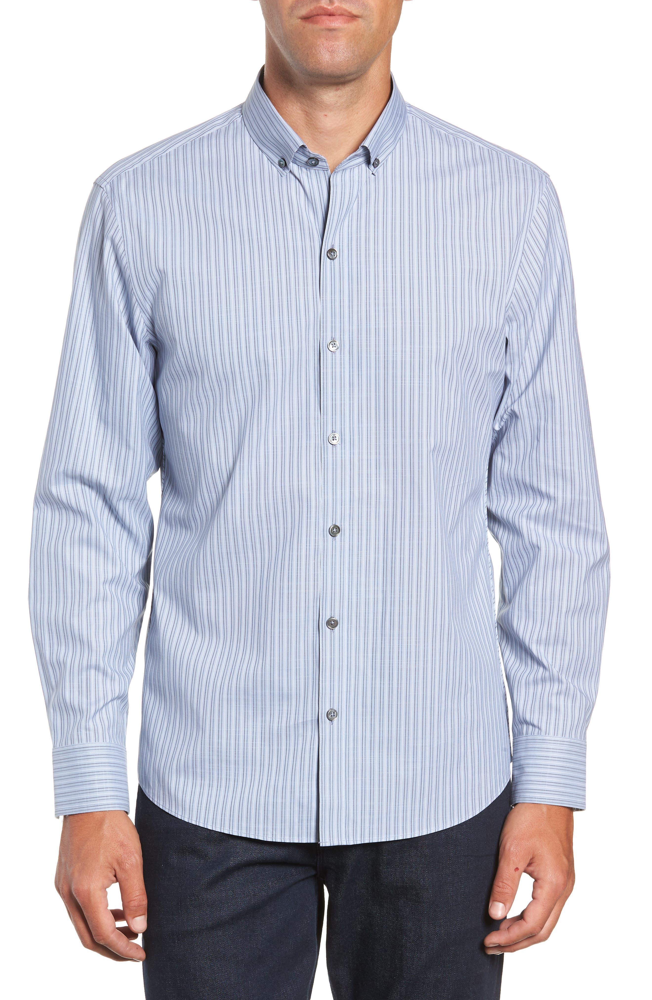 Vinnie Regular Fit Stripe Sport Shirt,                         Main,                         color, SLATE