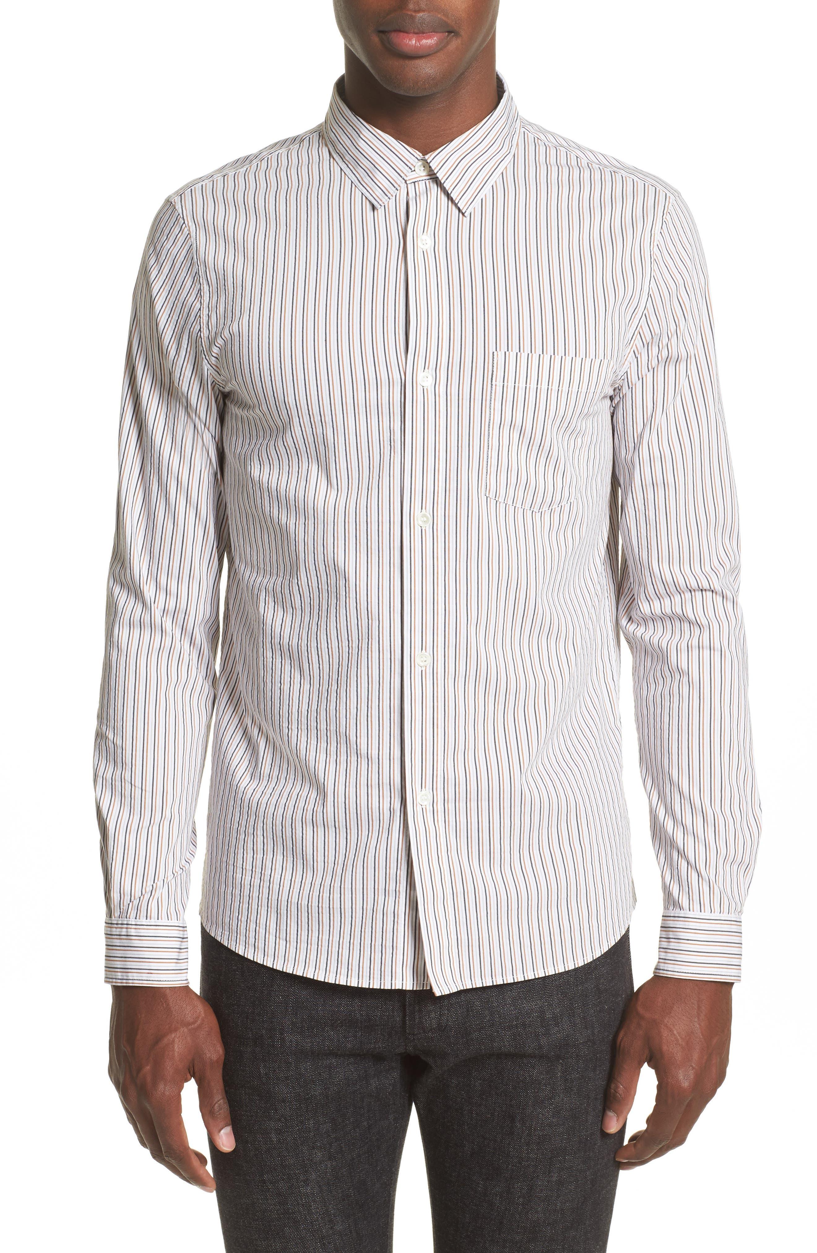 Franklin Extra Trim Fit Stripe Sport Shirt,                         Main,                         color, 100