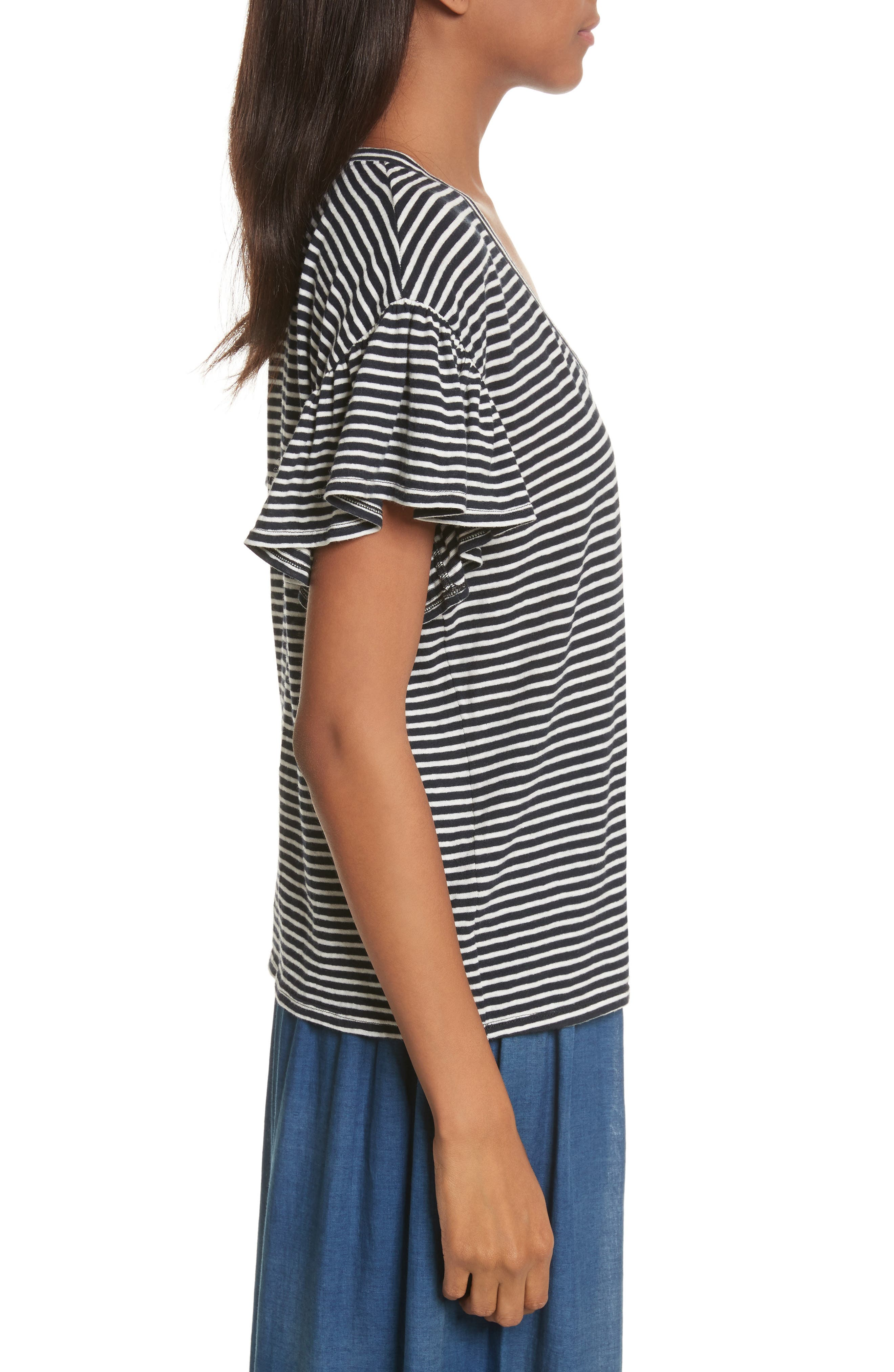 Stripe Jersey Top,                             Alternate thumbnail 3, color,                             482