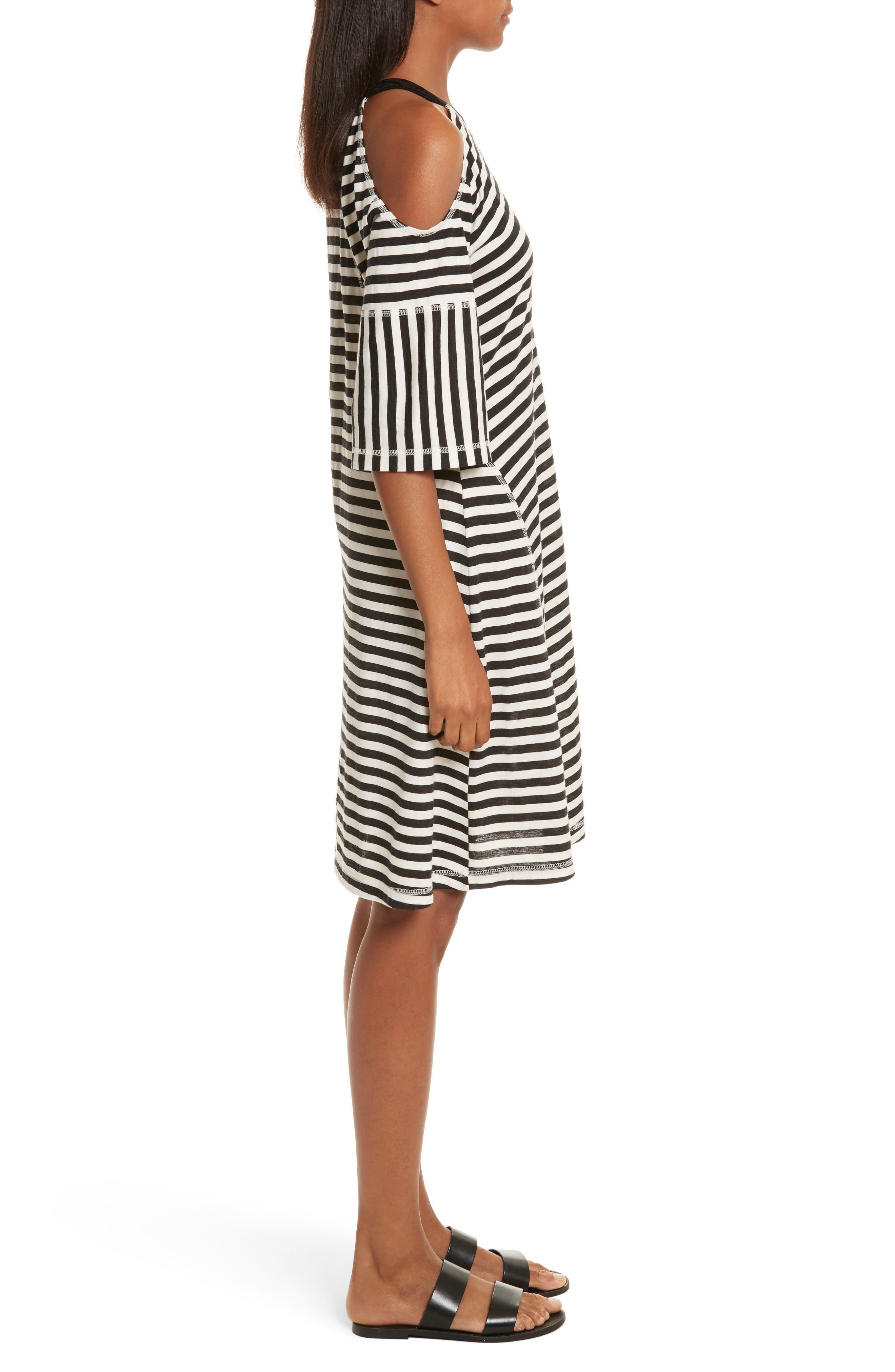 Stripe Jersey Cold Shoulder Dress,                             Alternate thumbnail 3, color,                             001