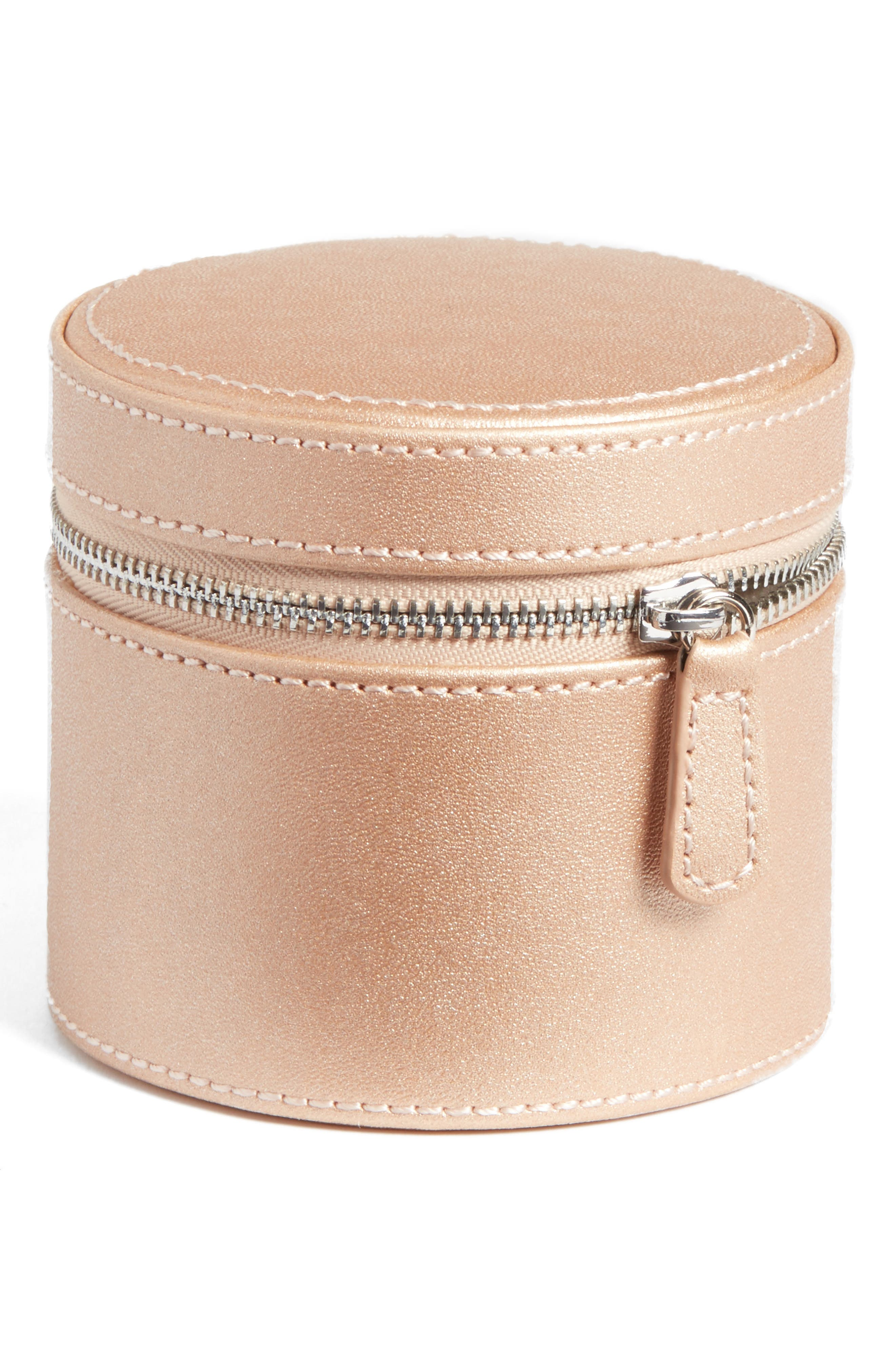 Small Round Zippered Jewelry Case,                             Main thumbnail 3, color,