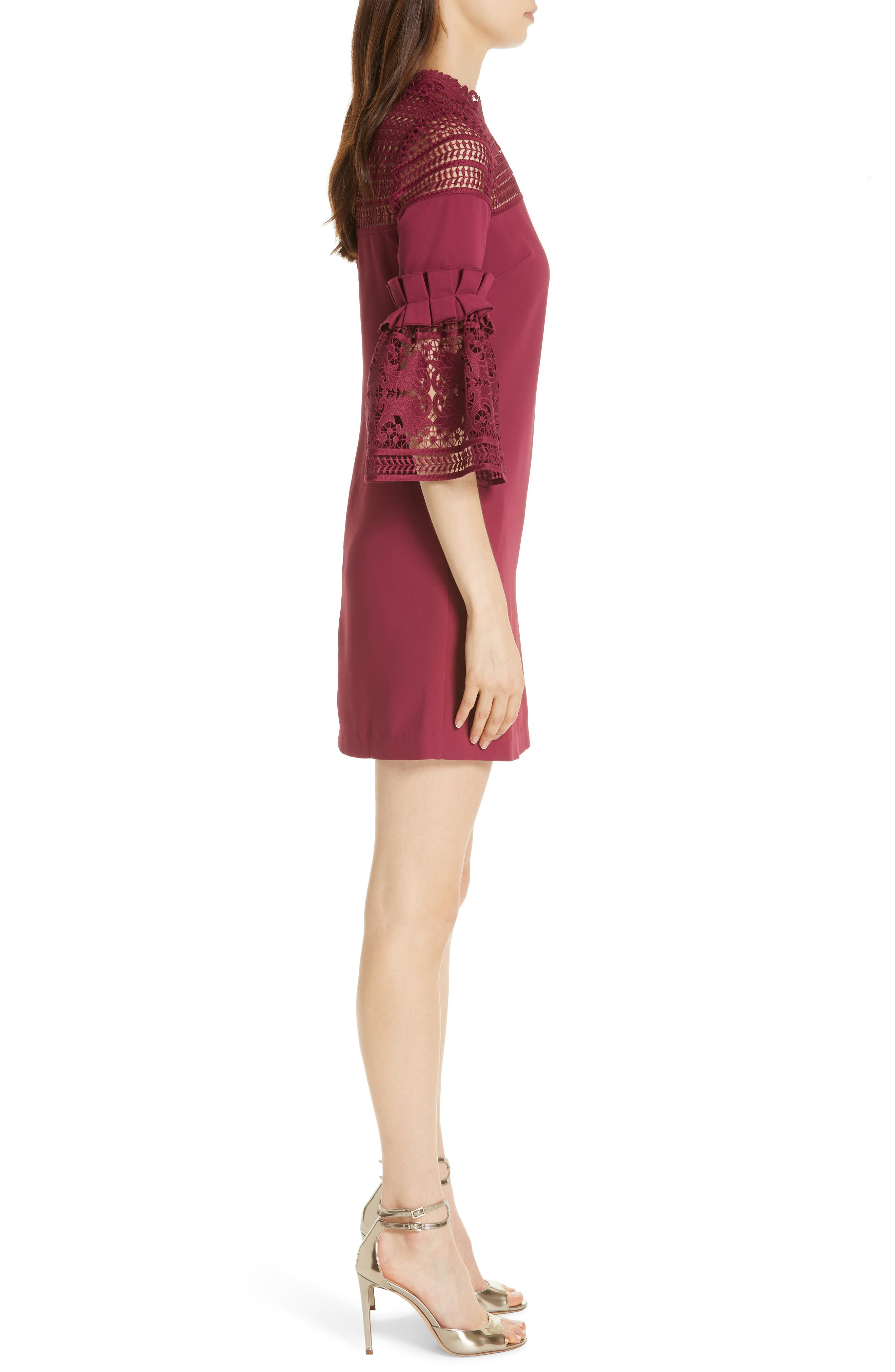 Lace Panel Bell Sleeve Tunic Dress,                             Alternate thumbnail 3, color,                             MAROON