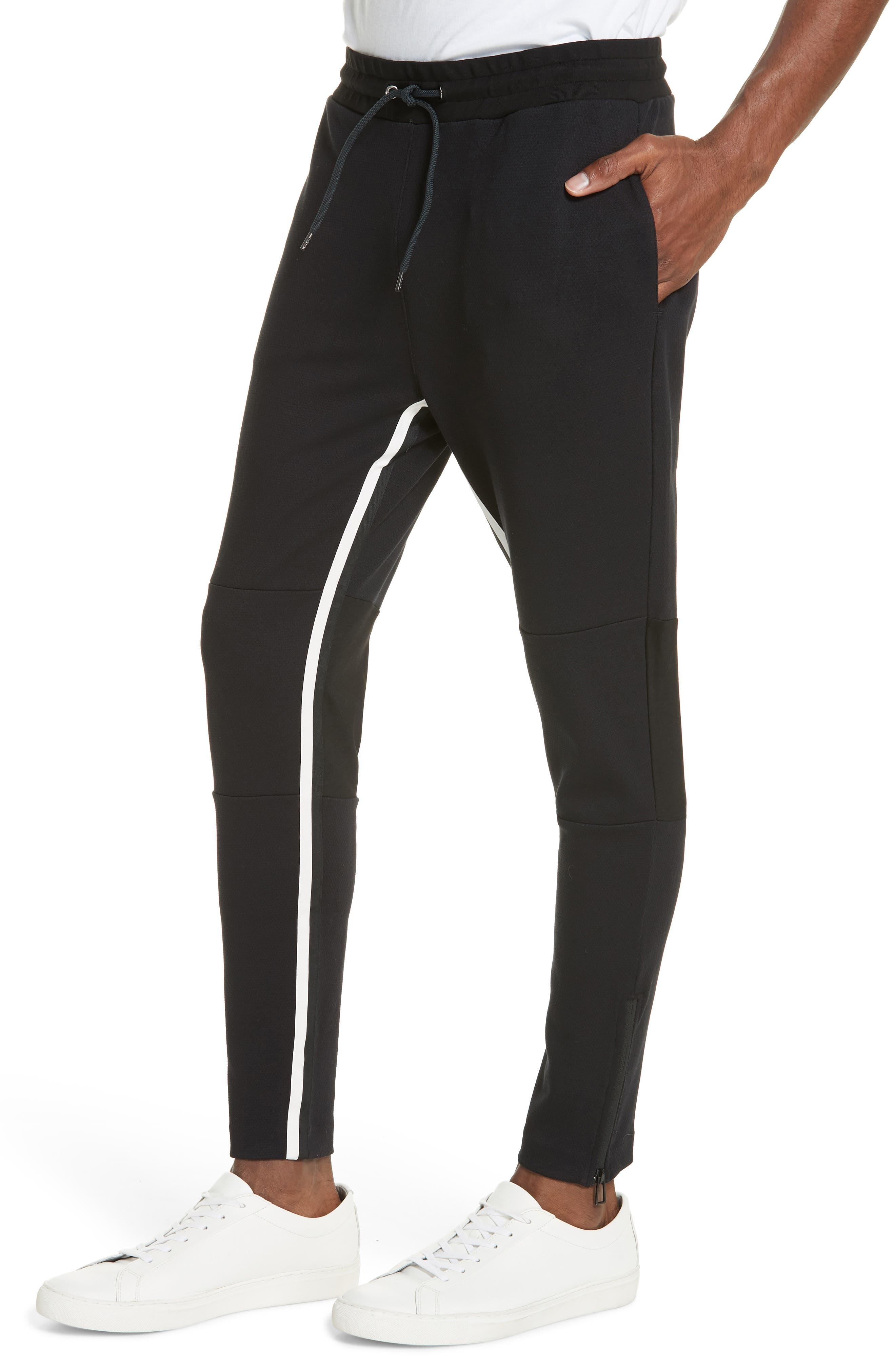 Stripe Jogger Pants,                             Alternate thumbnail 4, color,                             BLACK