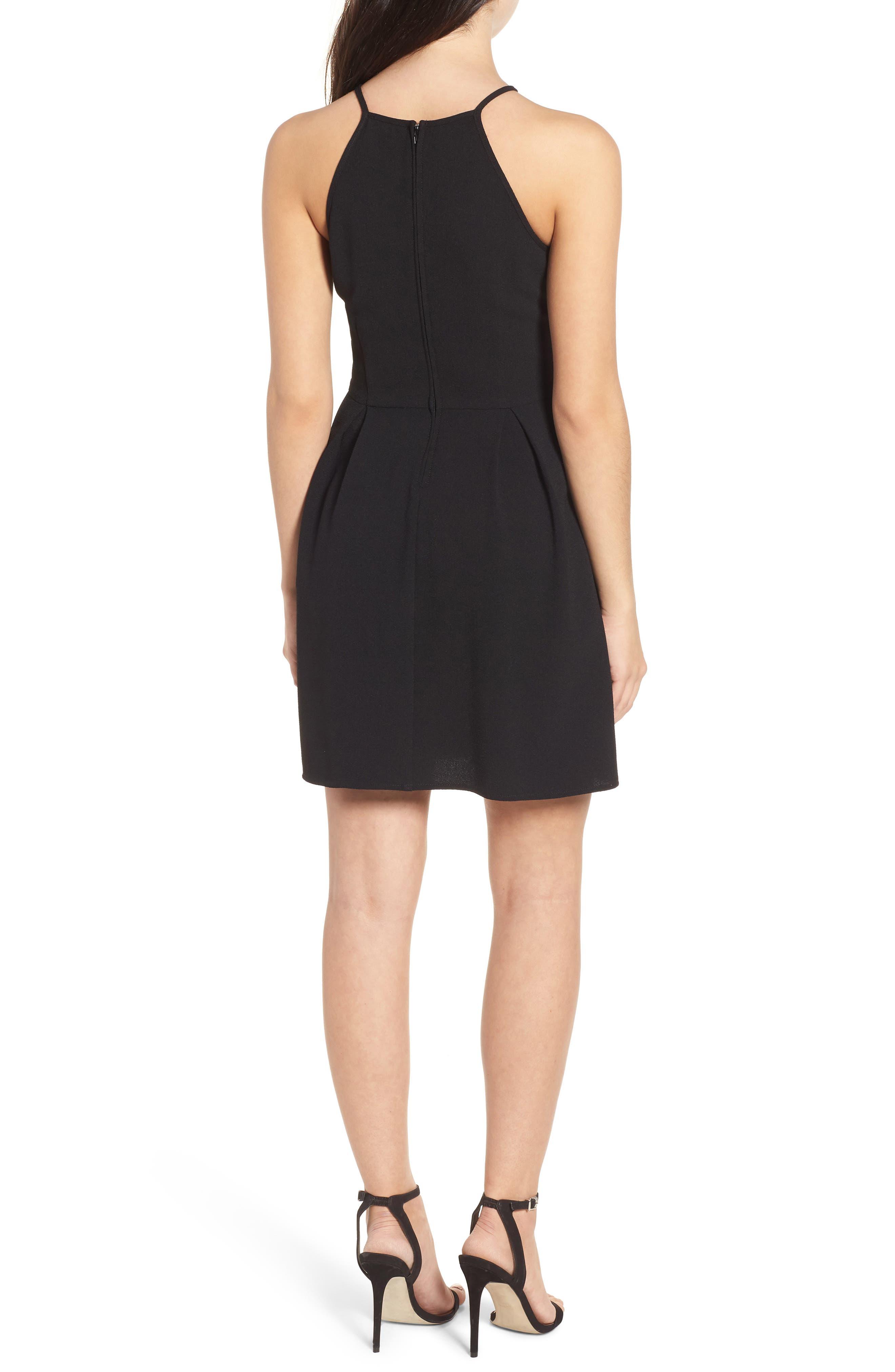 Lace Inset Fit & Flare Dress,                             Alternate thumbnail 2, color,                             002