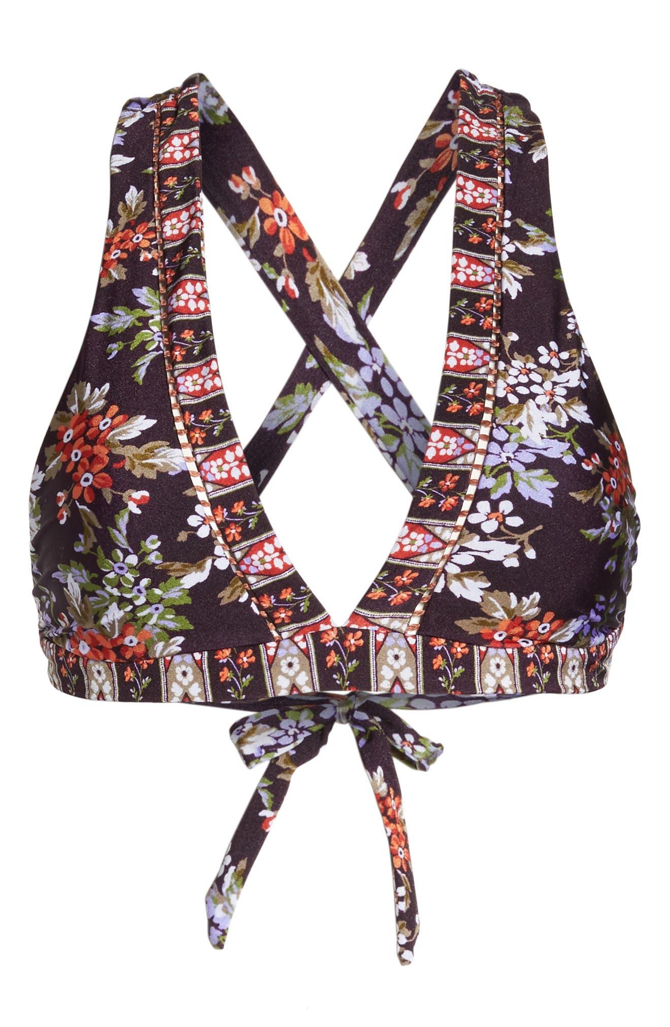 Floral Cottage Halter Bikini Top,                             Alternate thumbnail 6, color,                             502