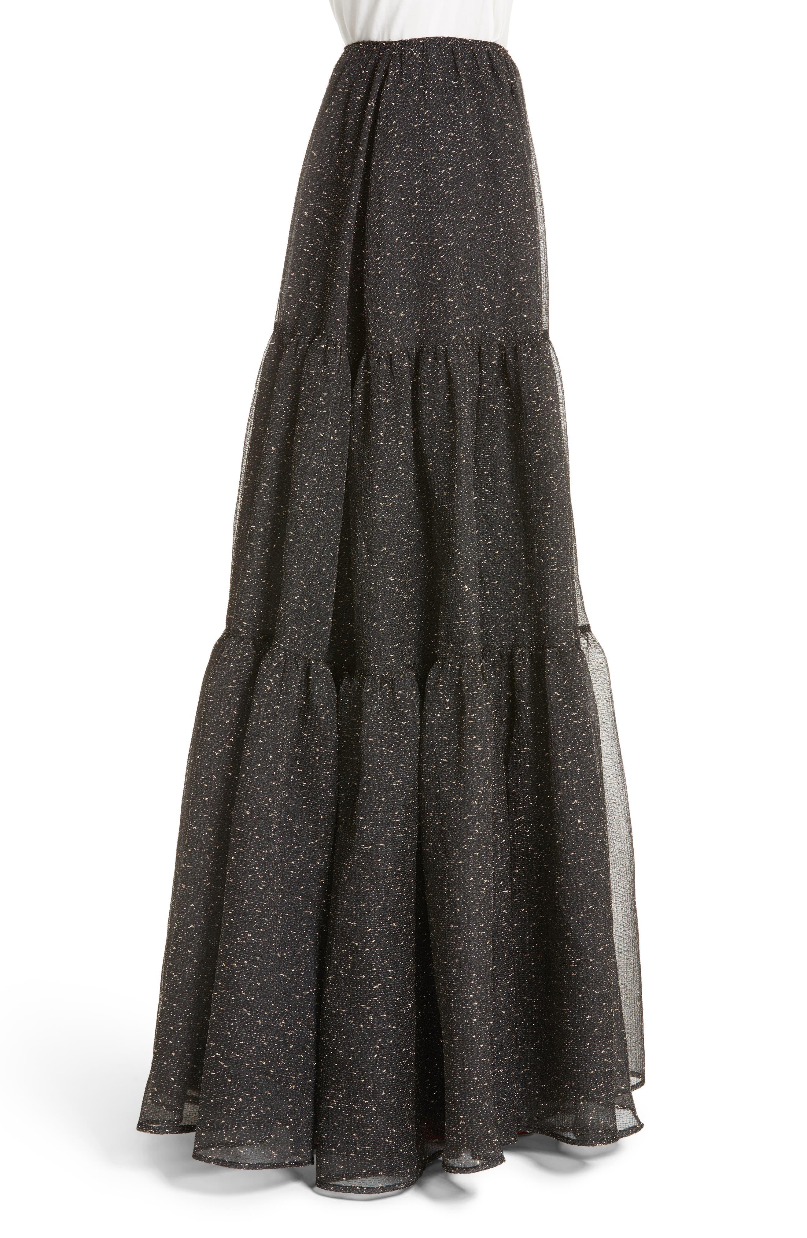 Tiered Organza Maxi Skirt,                             Alternate thumbnail 3, color,                             015
