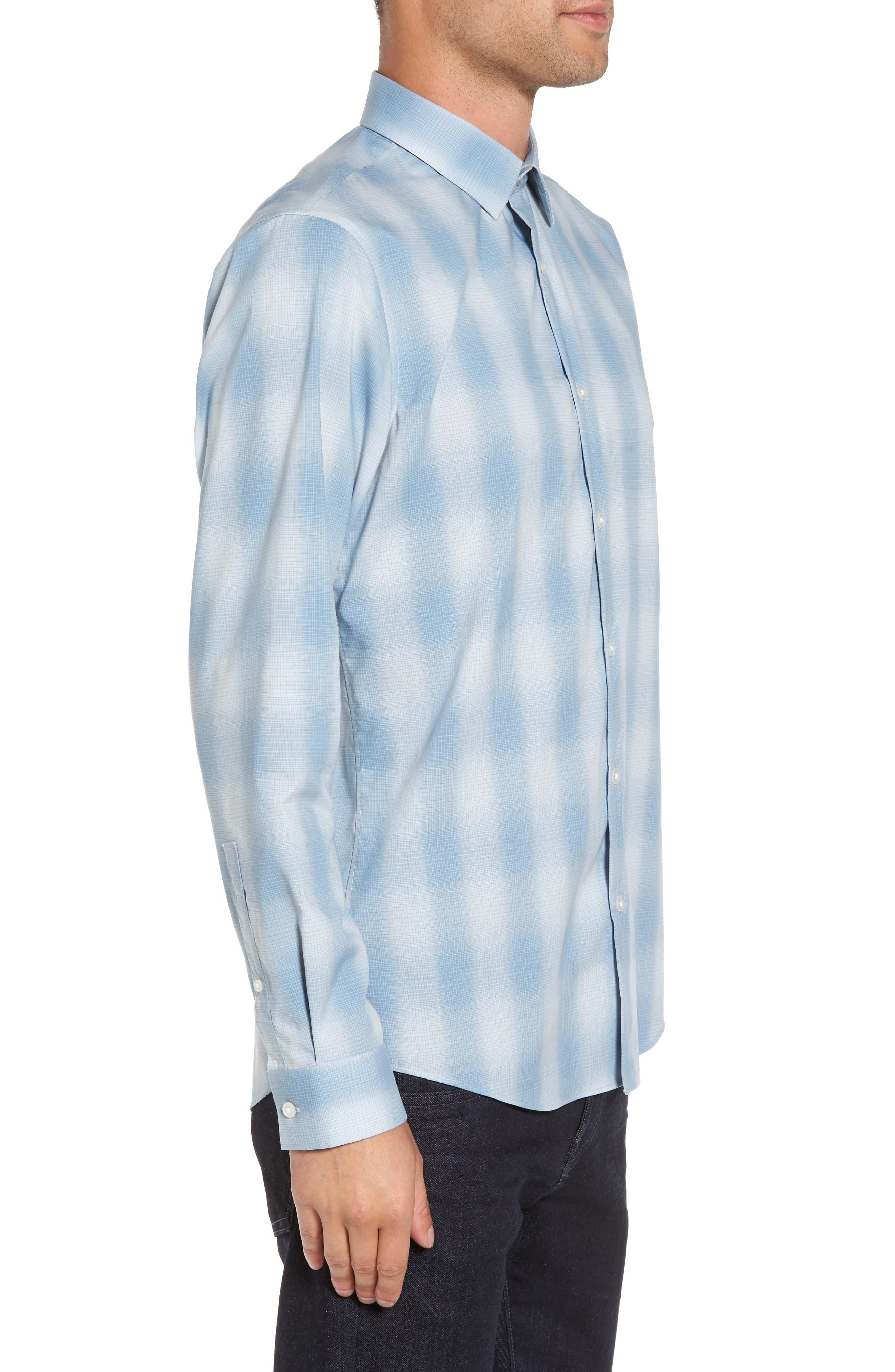 Trim Fit Plaid Sport Shirt,                             Alternate thumbnail 6, color,