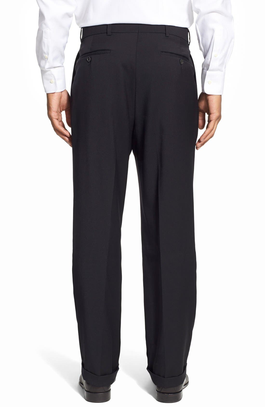 Pleated Solid Wool Trousers,                             Alternate thumbnail 16, color,