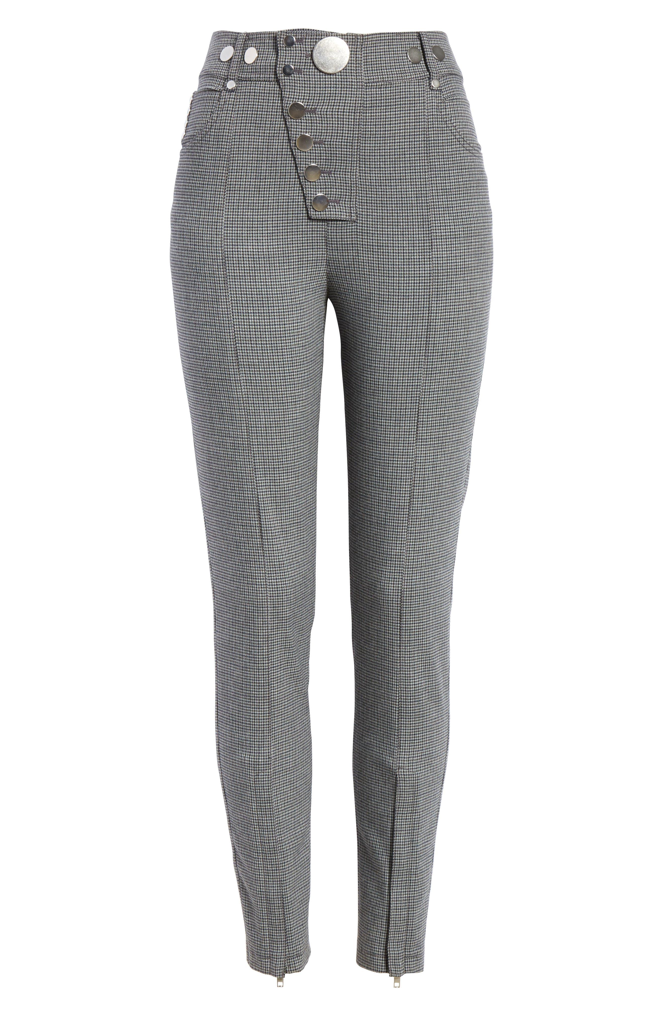 ALEXANDER WANG,                             Skinny Plaid Pants,                             Alternate thumbnail 6, color,                             020