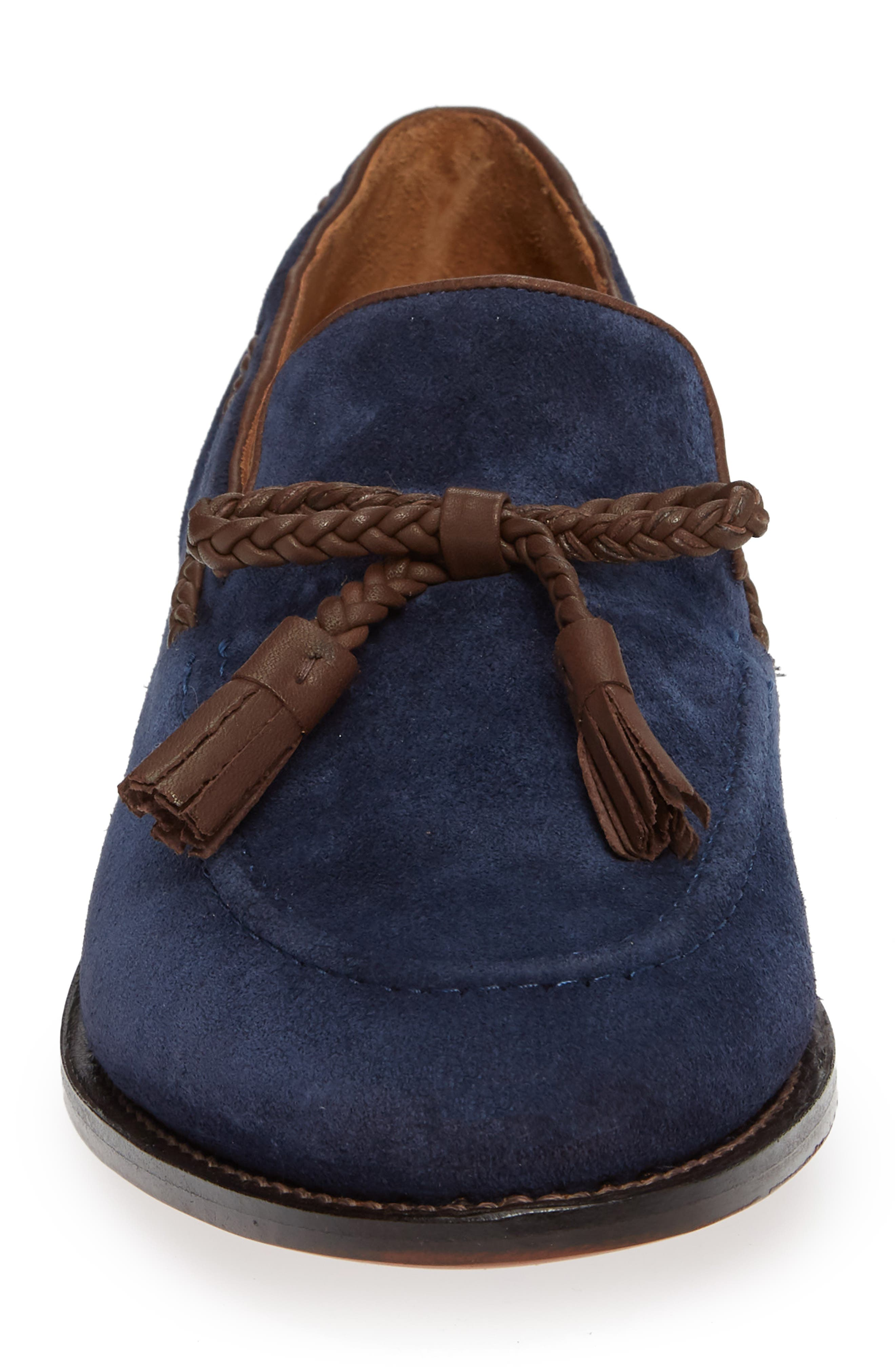 Braided Tassel Loafer,                             Alternate thumbnail 4, color,                             NAVY SUEDE