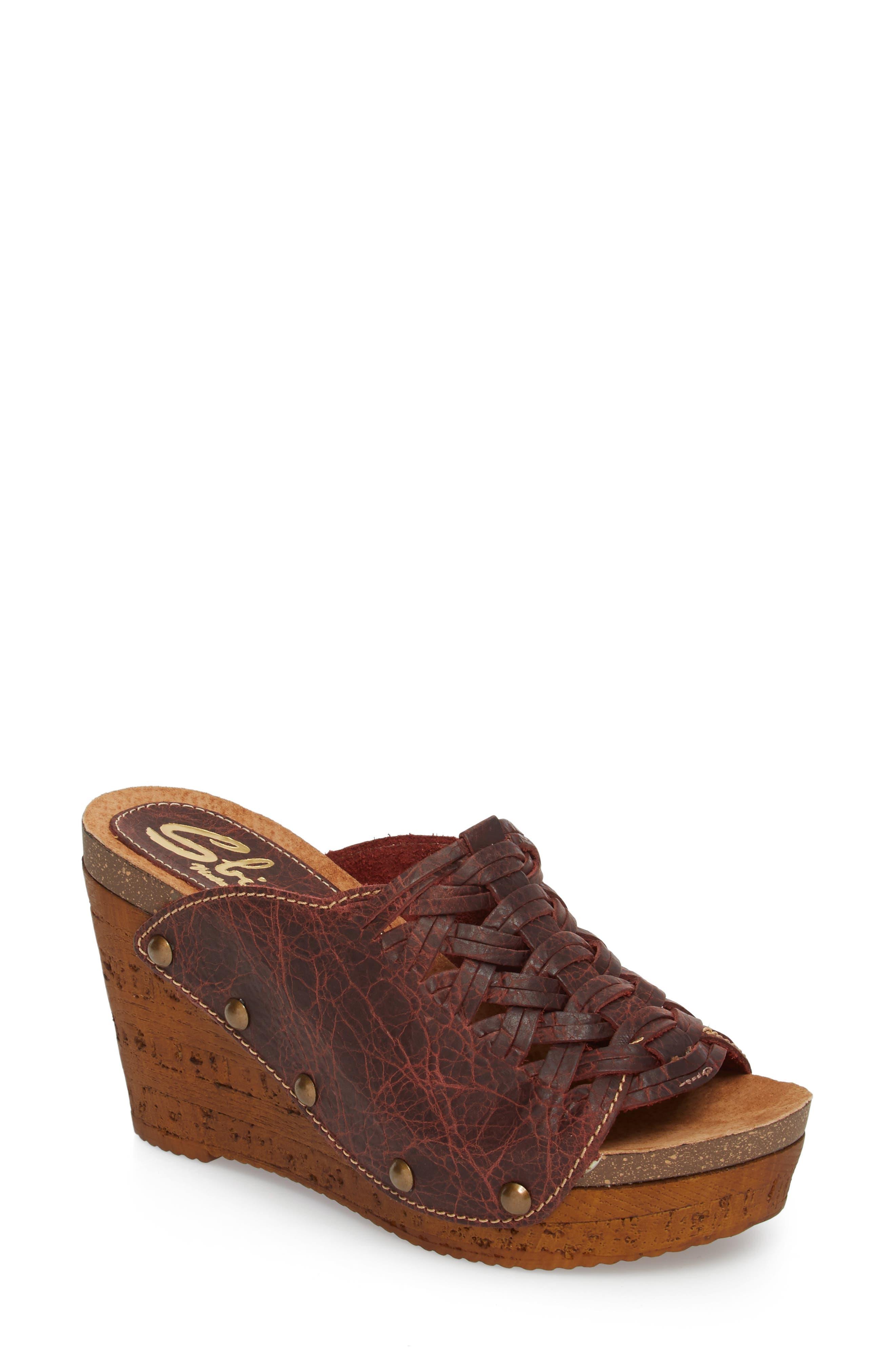 Genesis Platform Wedge Sandal,                         Main,                         color, WINE