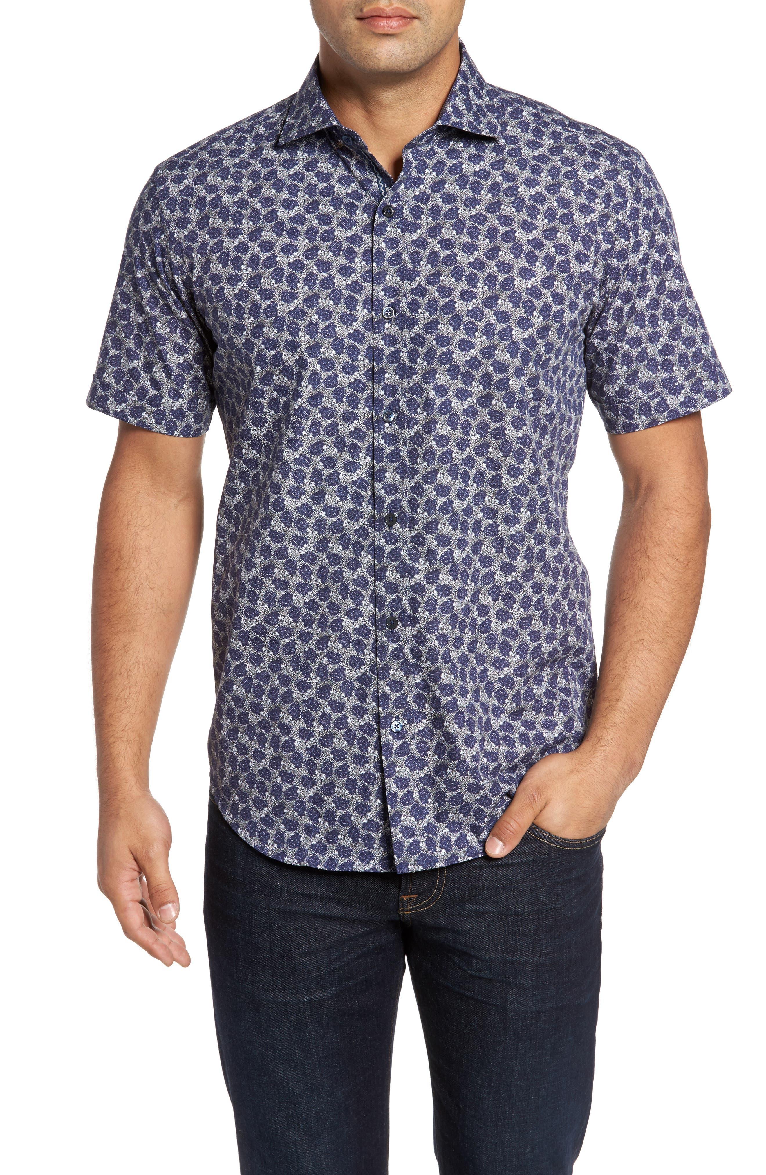 Shaped Fit Print Sport Shirt,                             Main thumbnail 1, color,                             408
