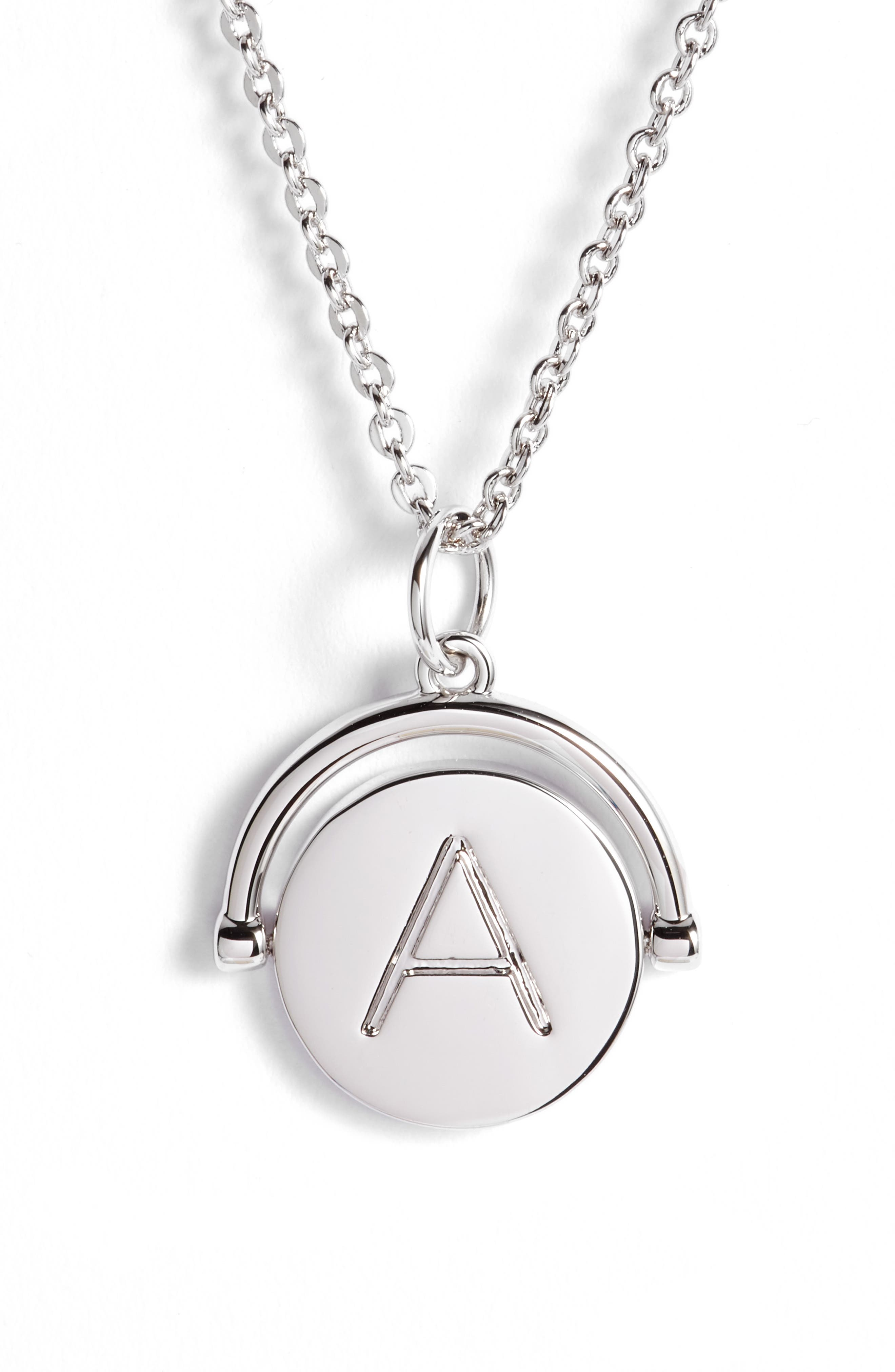 Love Letters Initial Spinning Pendant Necklace,                             Alternate thumbnail 4, color,                             040