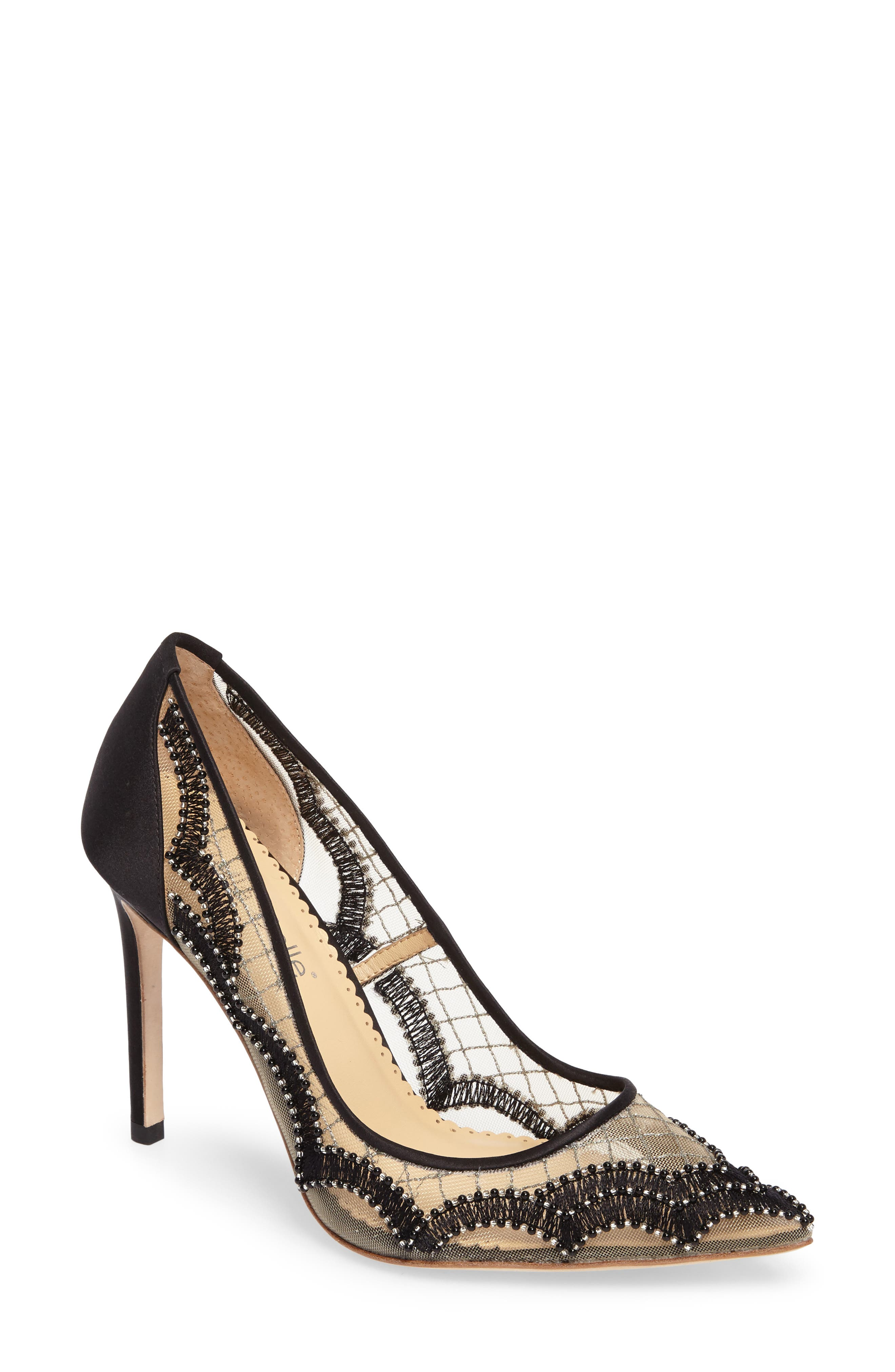 Nadia Scalloped Embroidery Pump,                         Main,                         color, BLACK