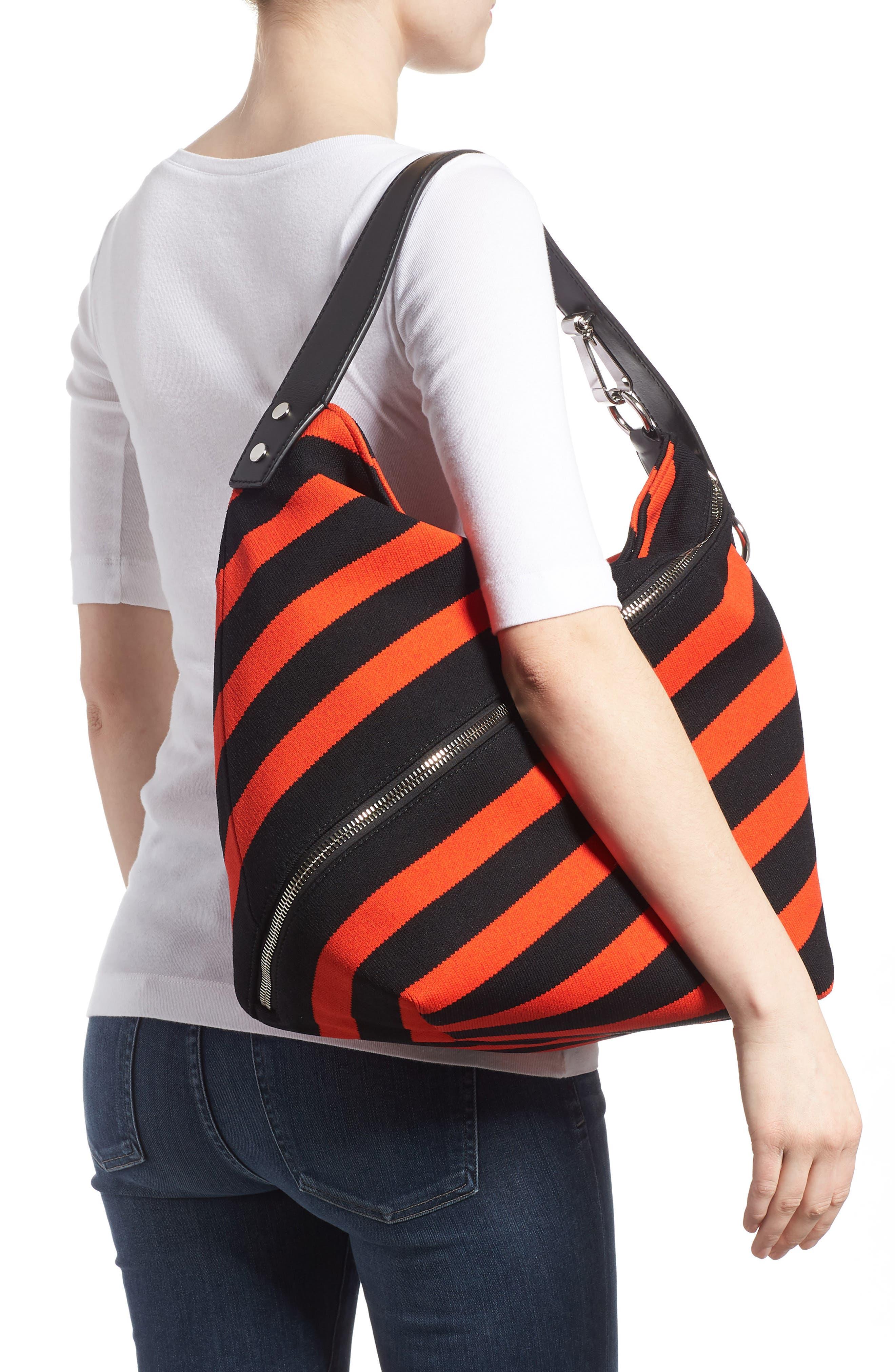 Medium Asymmetric Zip Stripe Textile Hobo,                             Alternate thumbnail 2, color,                             BLACK/ HOT CORAL
