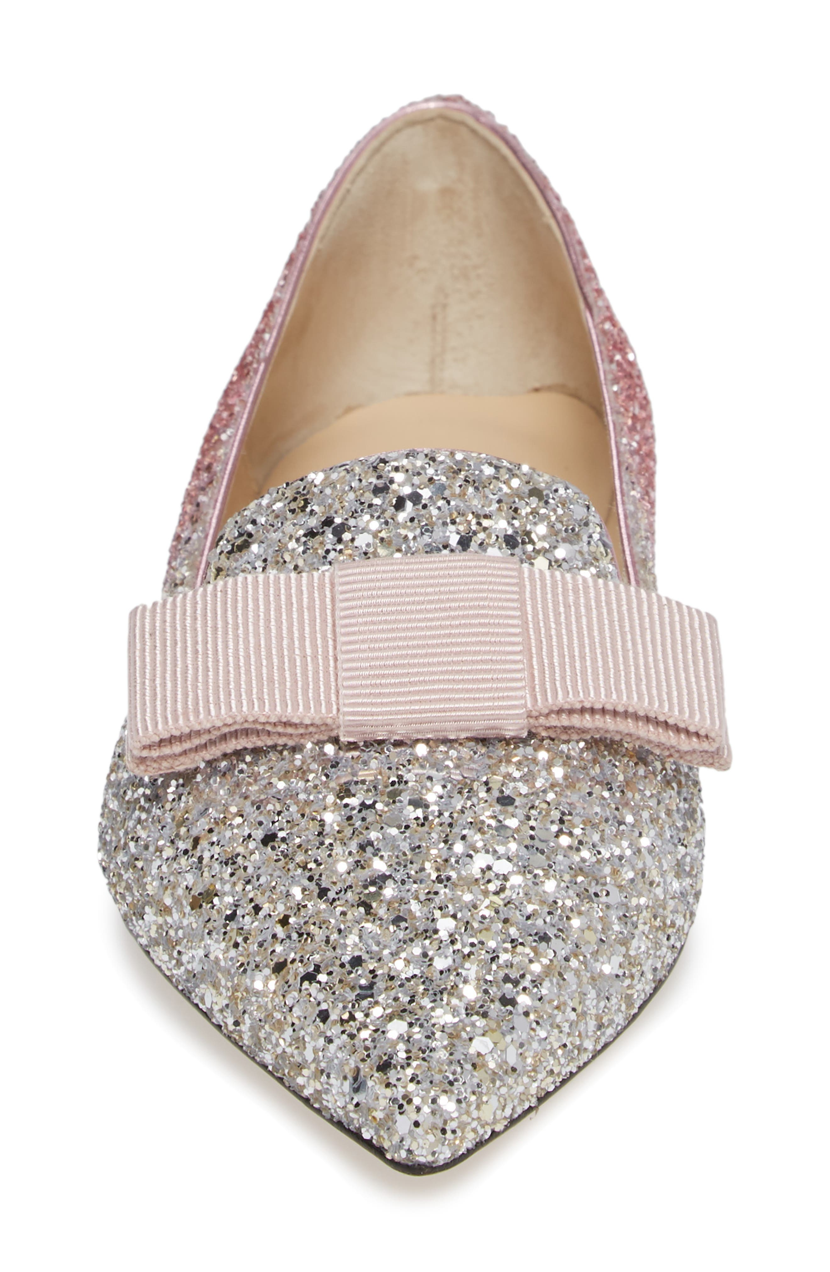 Glitter Bow Flat,                             Alternate thumbnail 4, color,                             FLAMINGO PINK