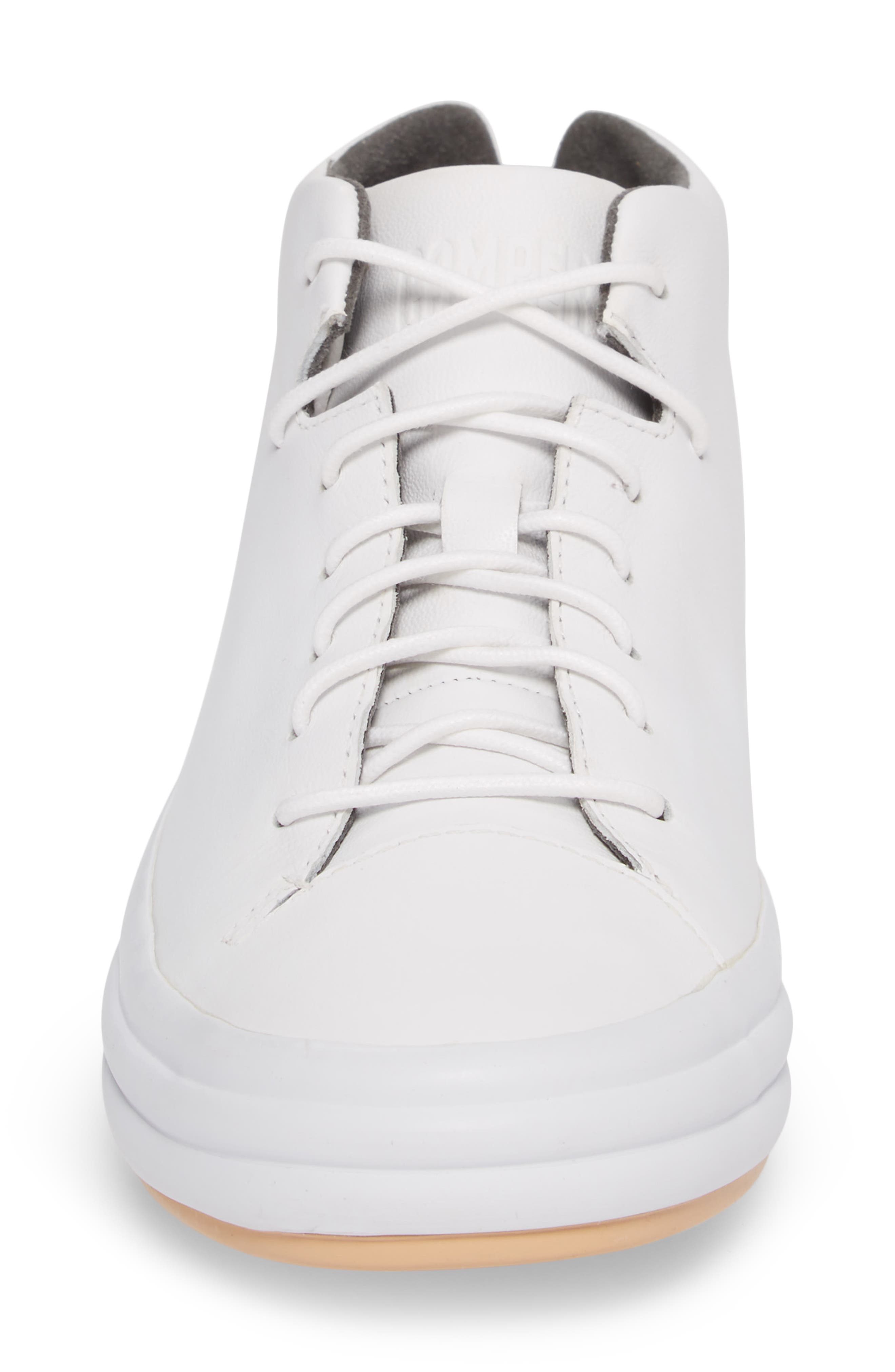 Hoops Mid Top Sneaker,                             Alternate thumbnail 4, color,                             WHITE NATURAL LEATHER