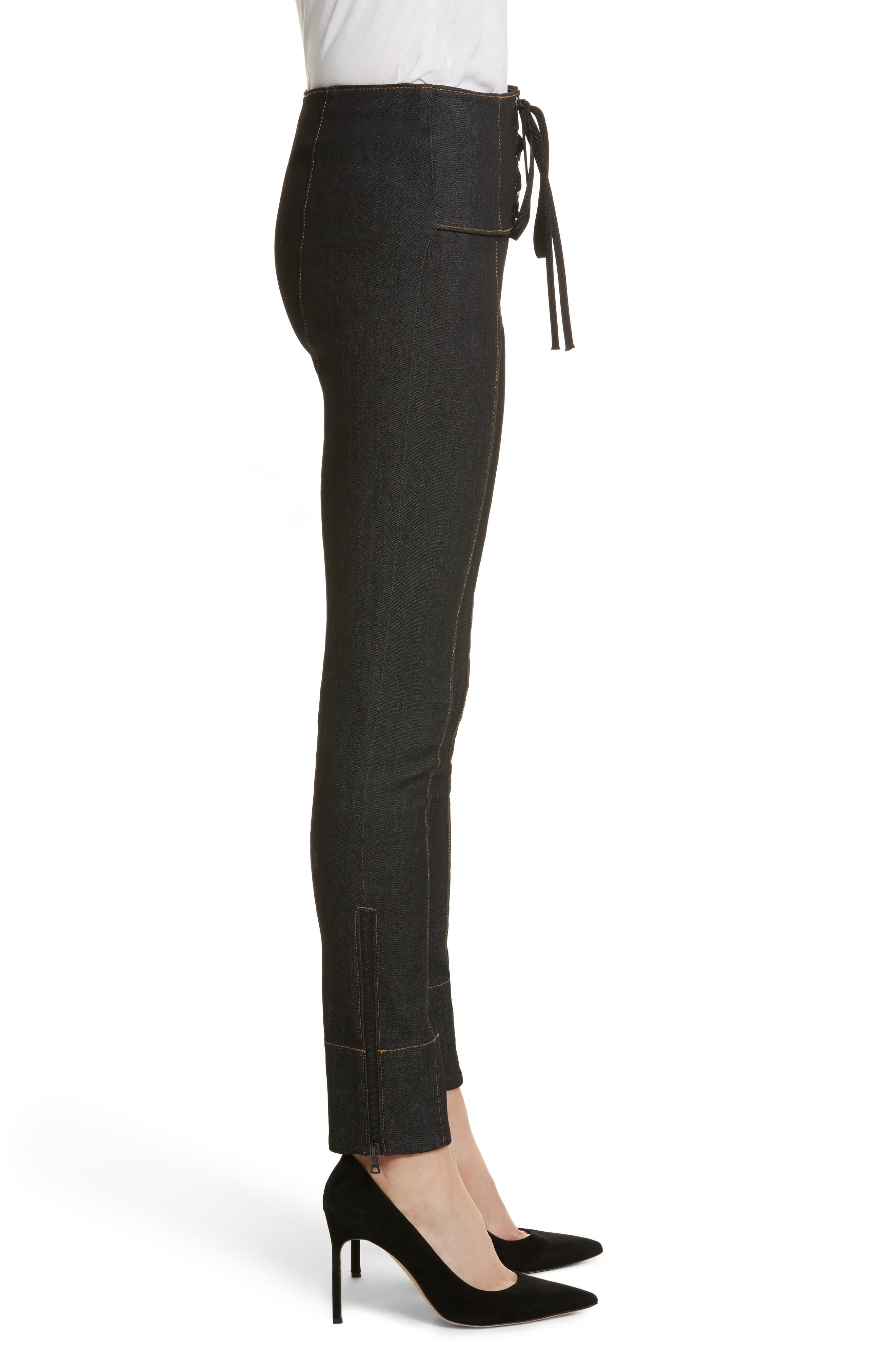 Andie Lace Front Skinny Ankle Jeans,                             Alternate thumbnail 3, color,                             001