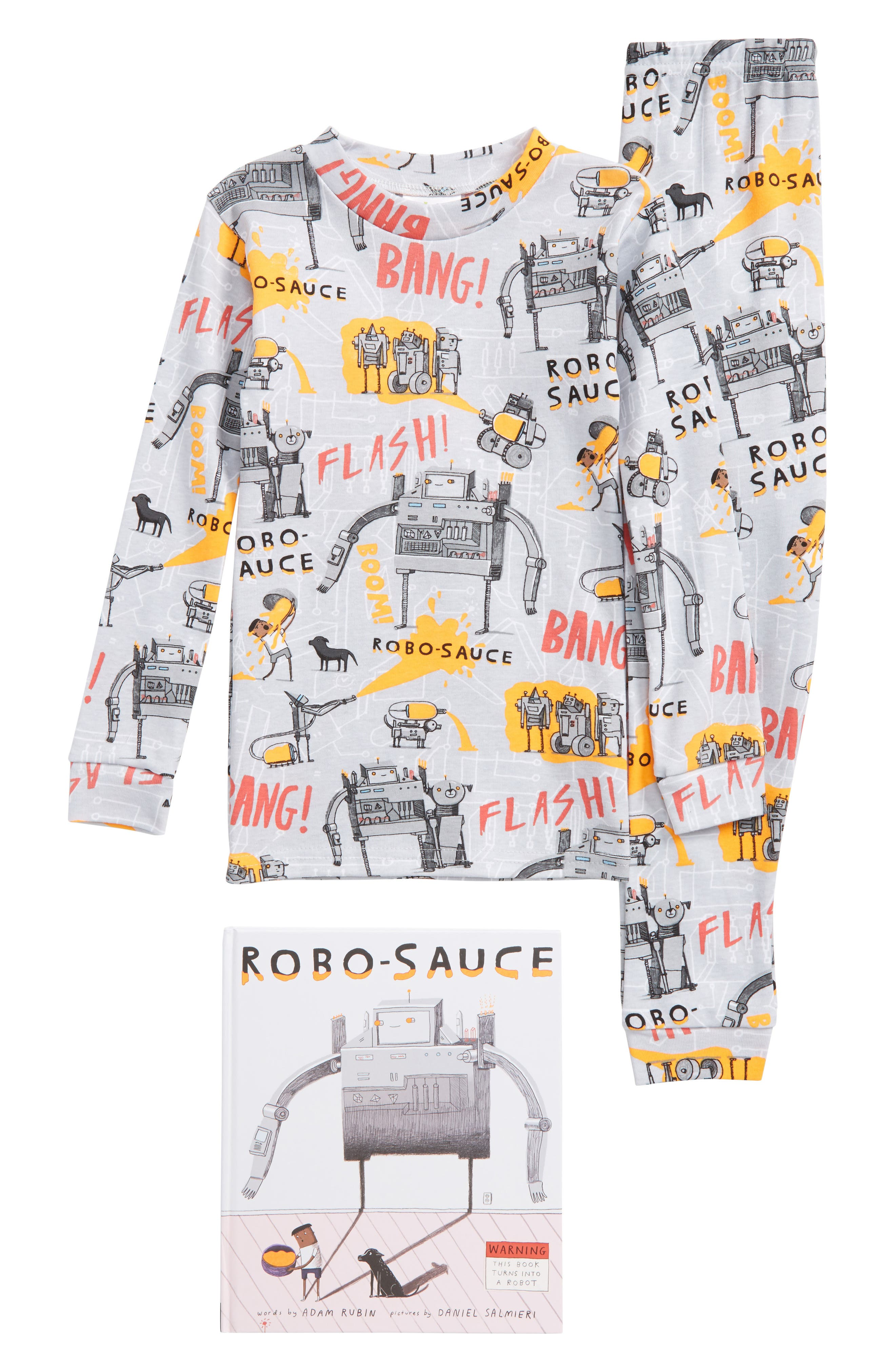 Robo-Sauce Fitted Two-Piece Pajamas & Book Set,                         Main,                         color, 020