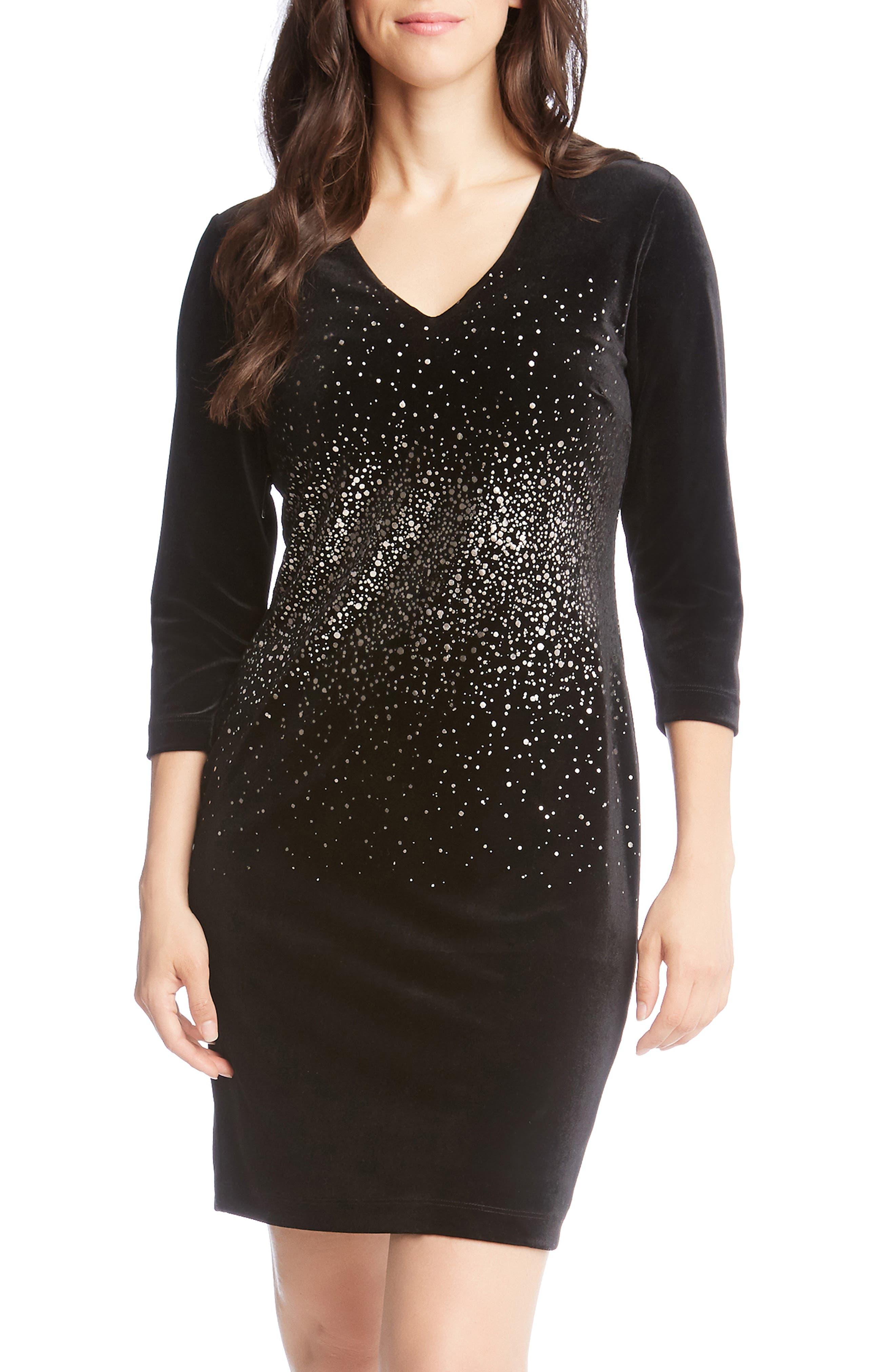 Karen Kane Metallic Splatter Print Sheath Dress, Black