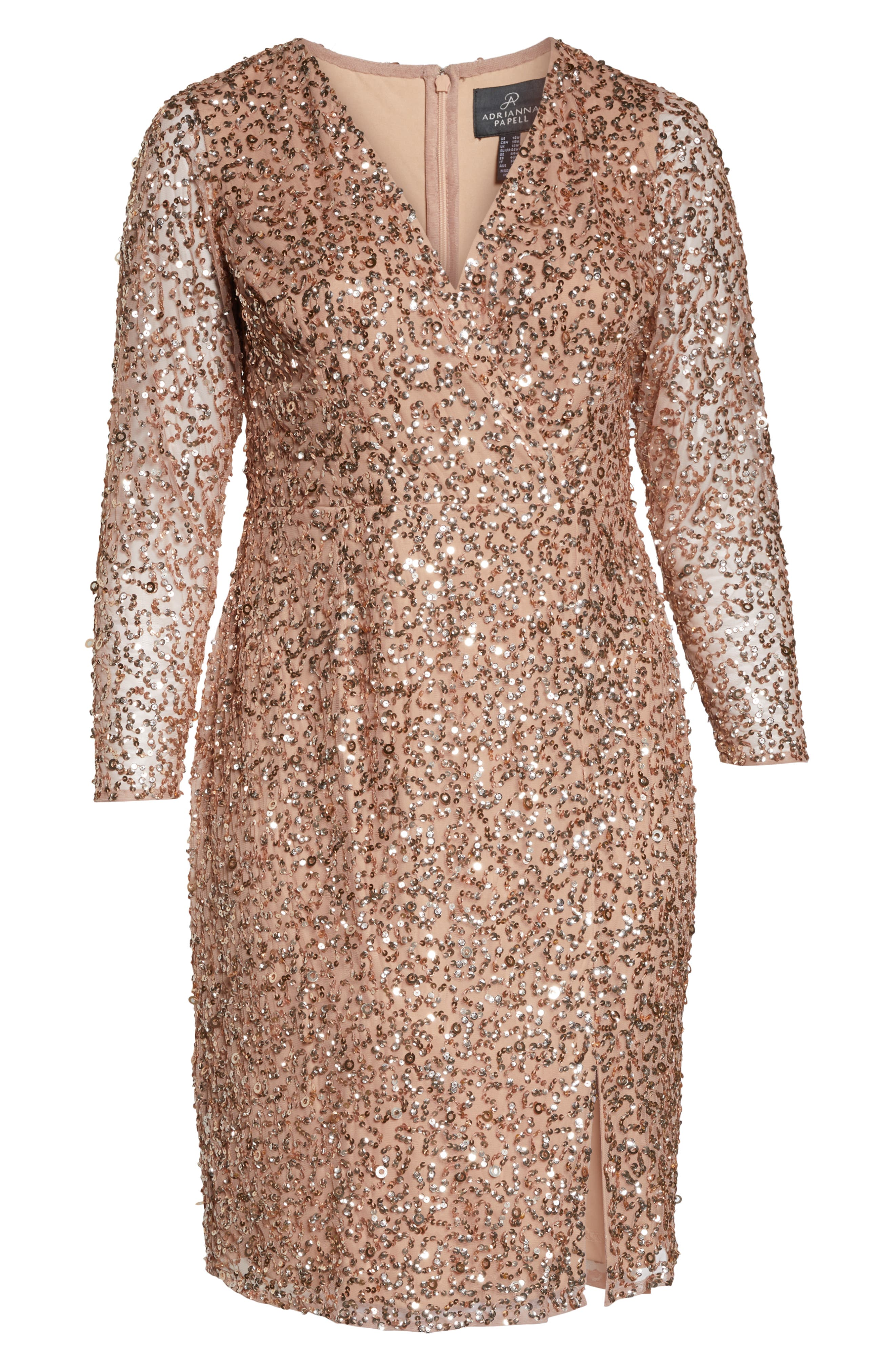 ADRIANNA PAPELL,                             Beaded Mesh Cocktail Dress,                             Alternate thumbnail 7, color,                             ROSE GOLD