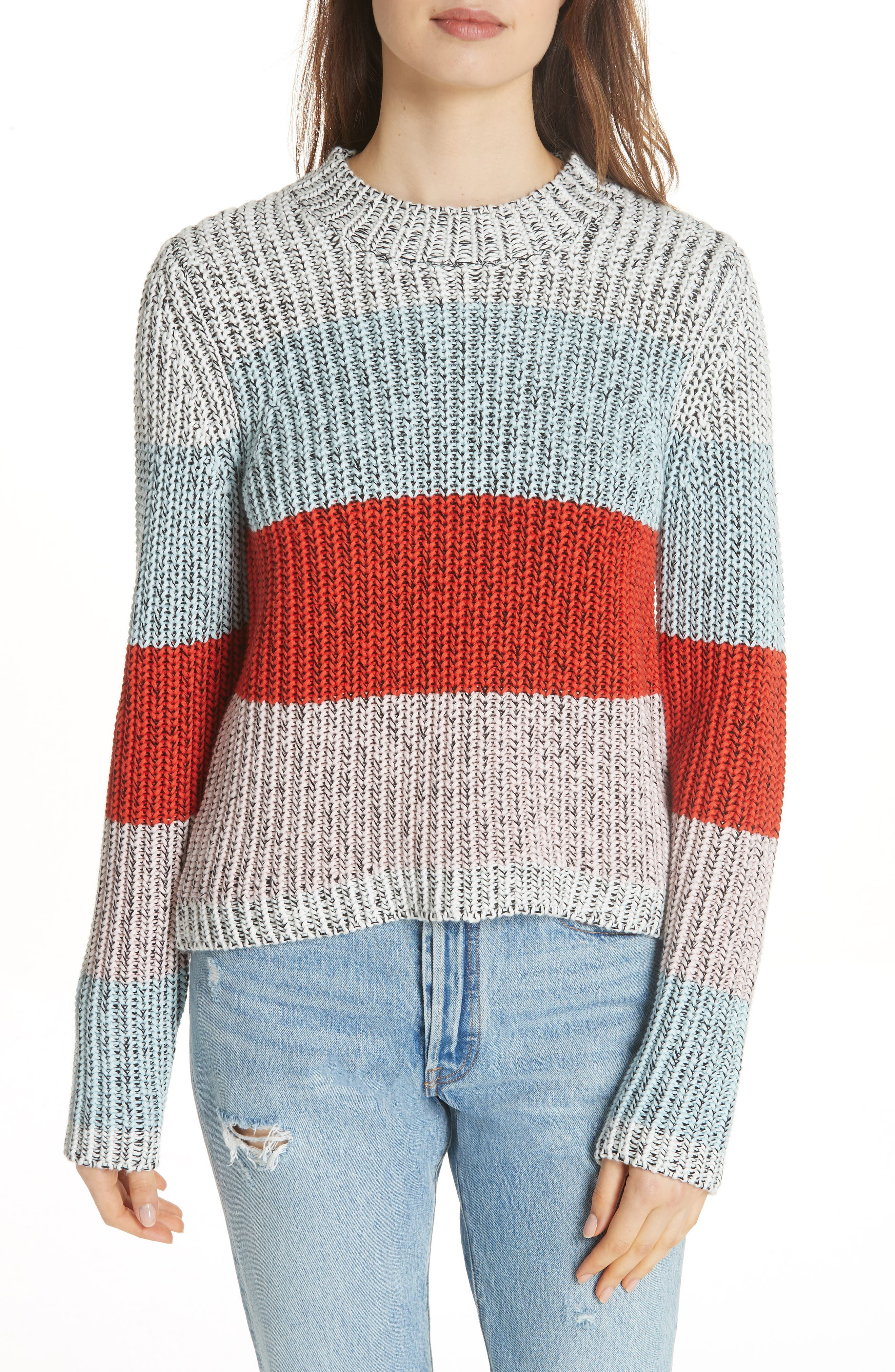 Chunky Crop Cotton Sweater,                             Main thumbnail 1, color,                             MULTI STRIPE
