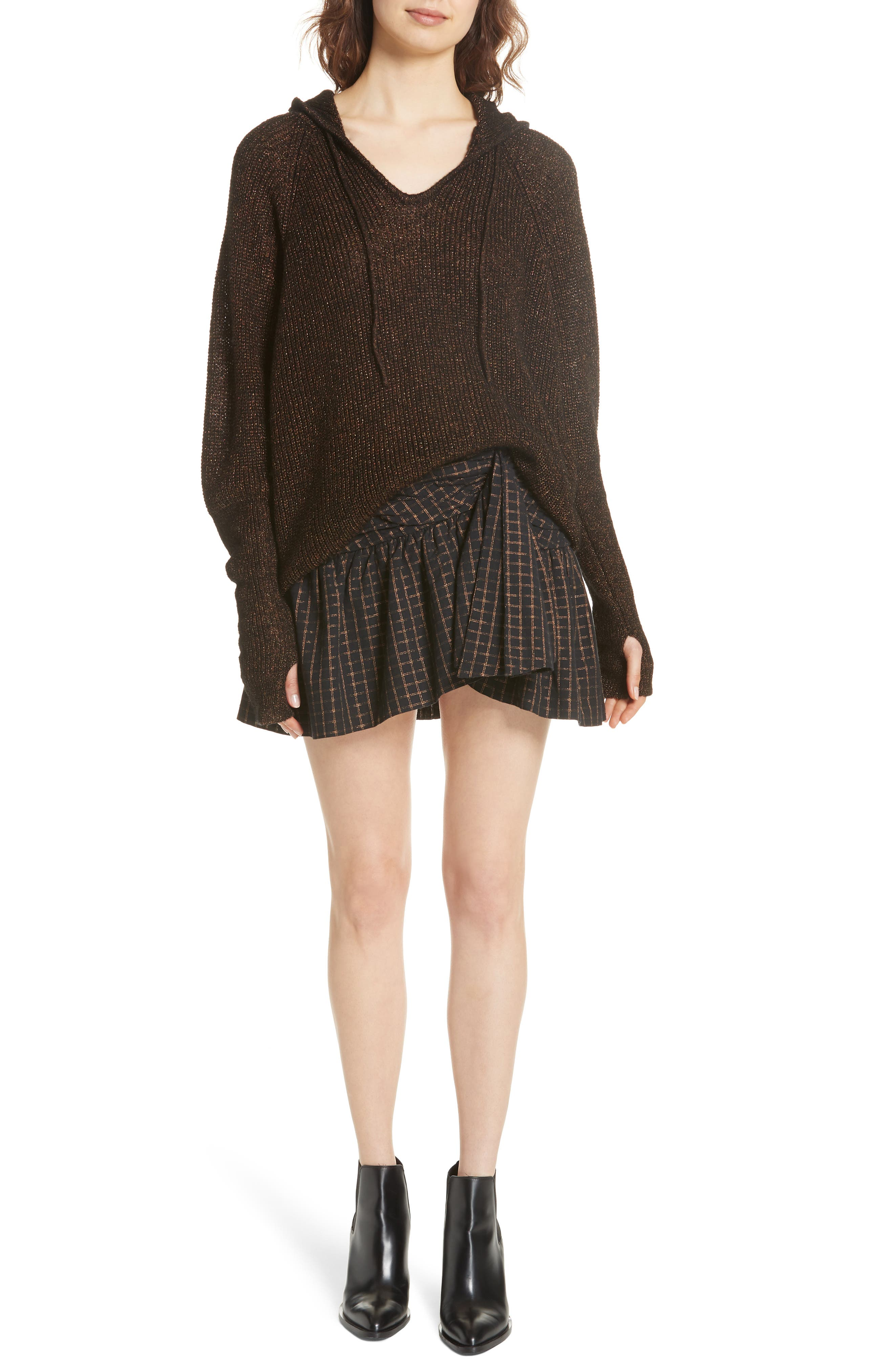 Sylvia Faux Wrap Mini Skirt,                             Alternate thumbnail 7, color,                             BLACK