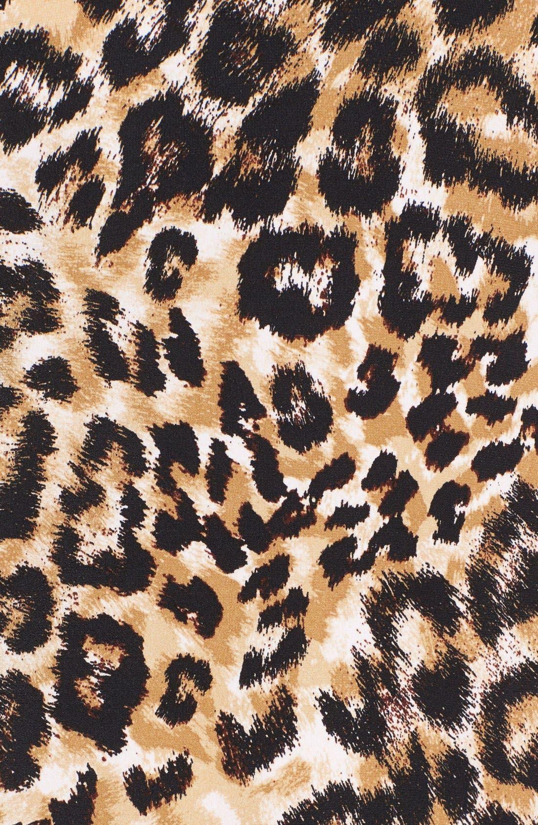 Leopard Print Pleat V-Neck Top,                             Alternate thumbnail 5, color,                             001