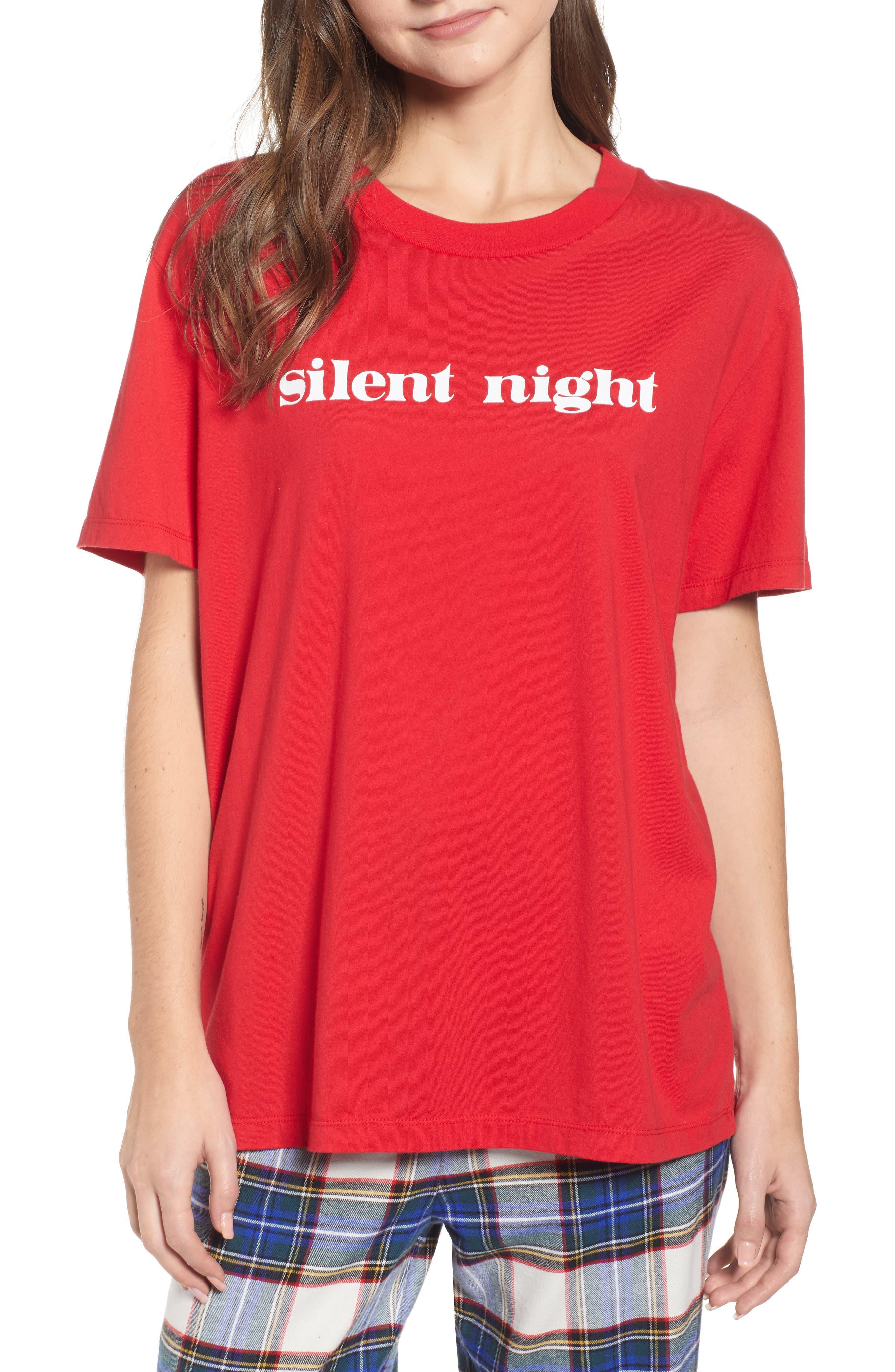 SLEEPY JONES,                             Silent Night Tee,                             Main thumbnail 1, color,                             RED